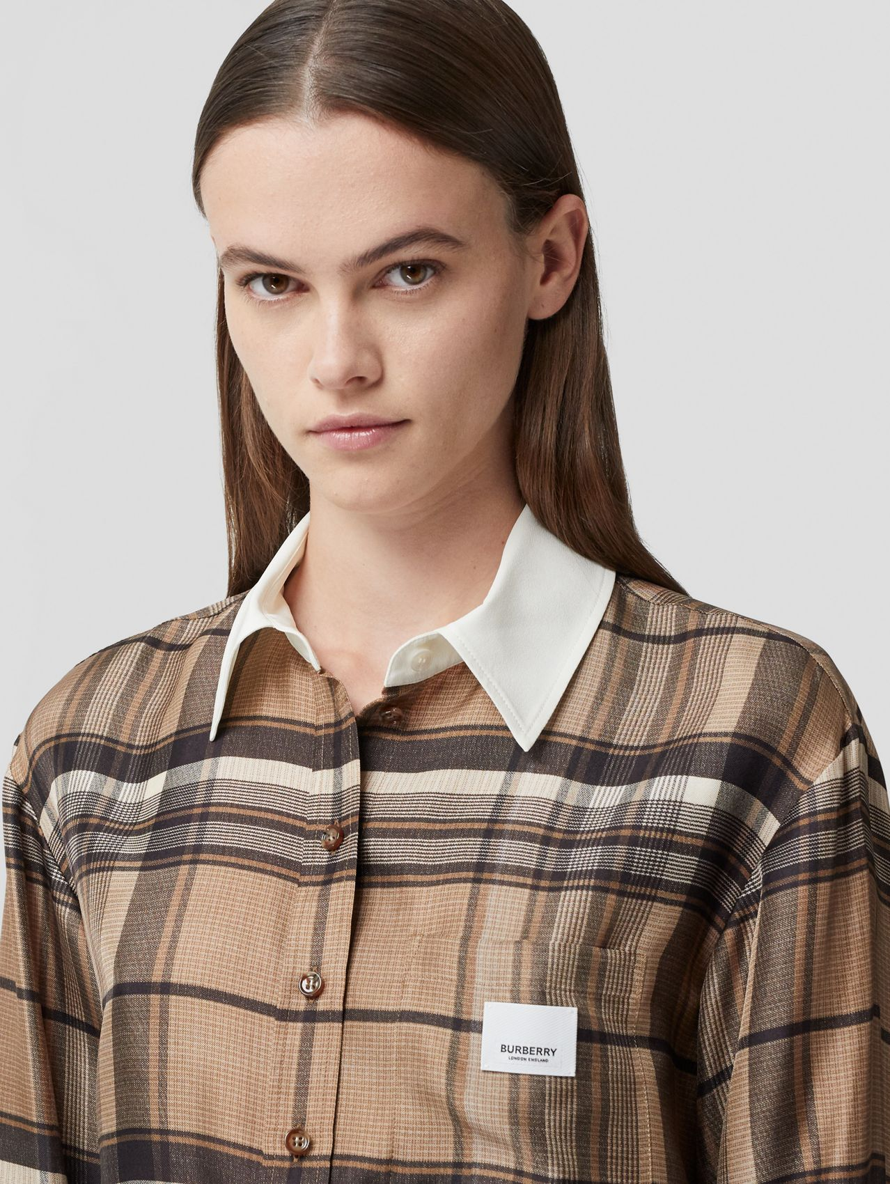 Logo Appliqué Check Print Silk Twill Shirt in Dark Tan