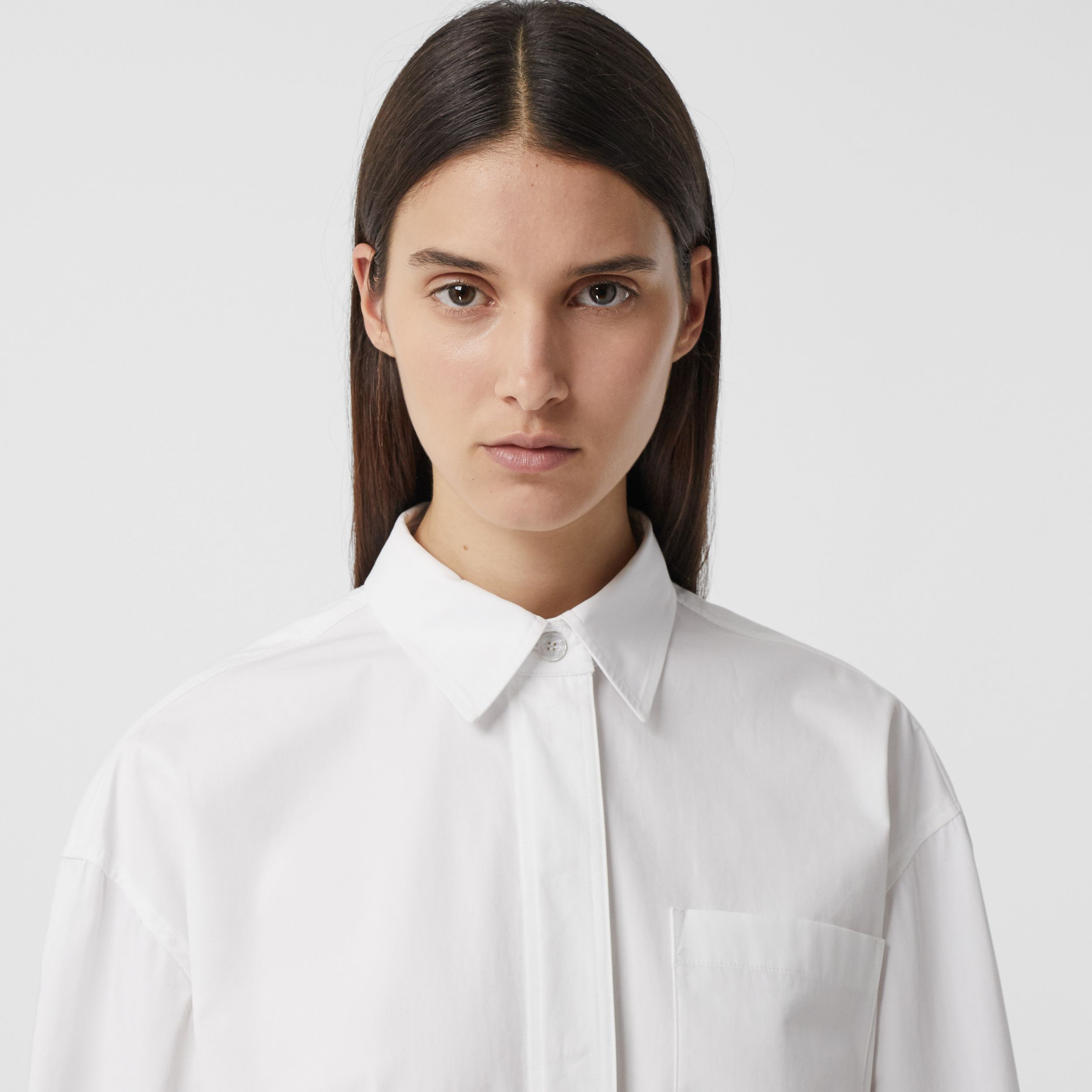 Logo Print Cotton Oversized Shirt in White - Women | Burberry - 2