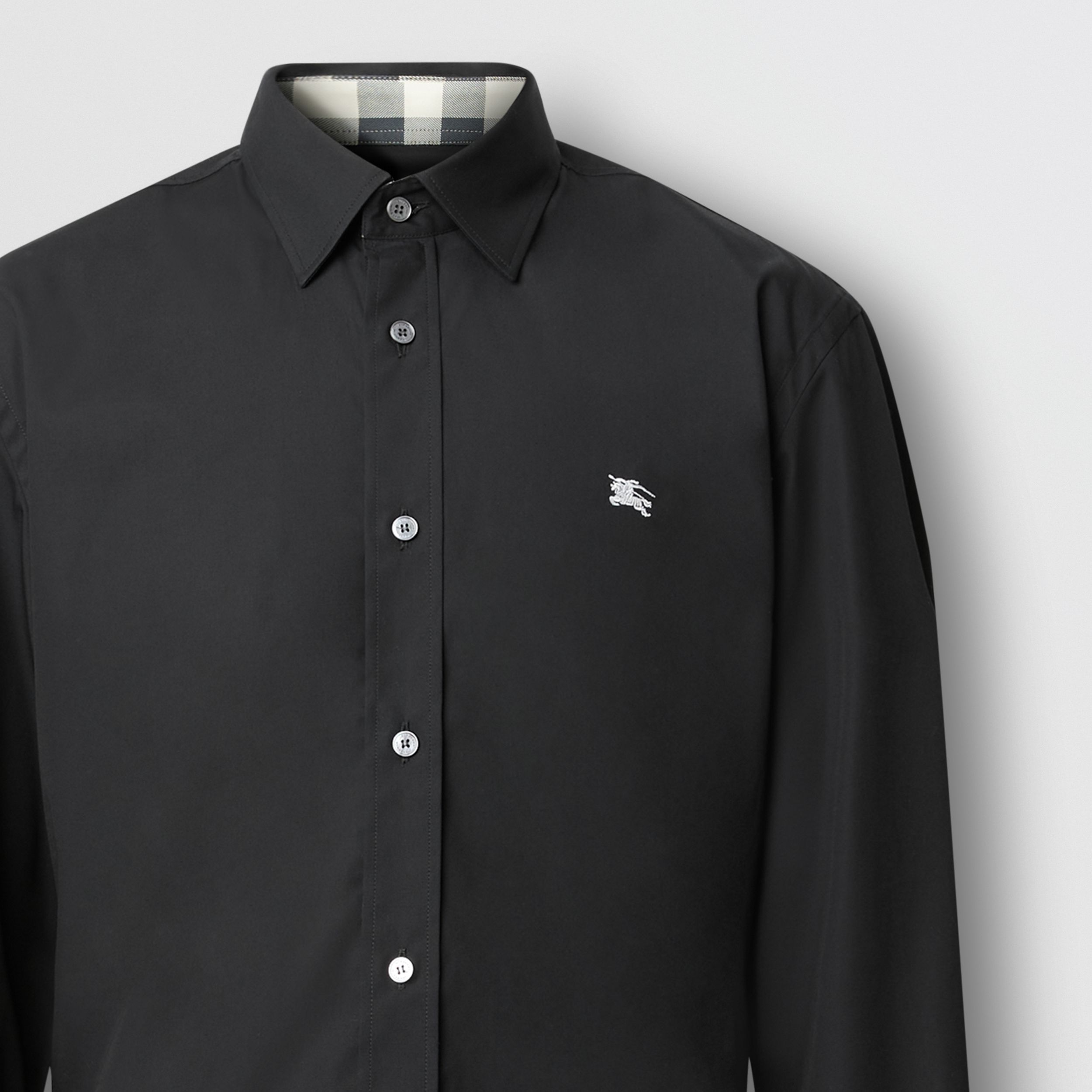 Embroidered EKD Stretch Cotton Poplin Shirt in Black - Men | Burberry - 2