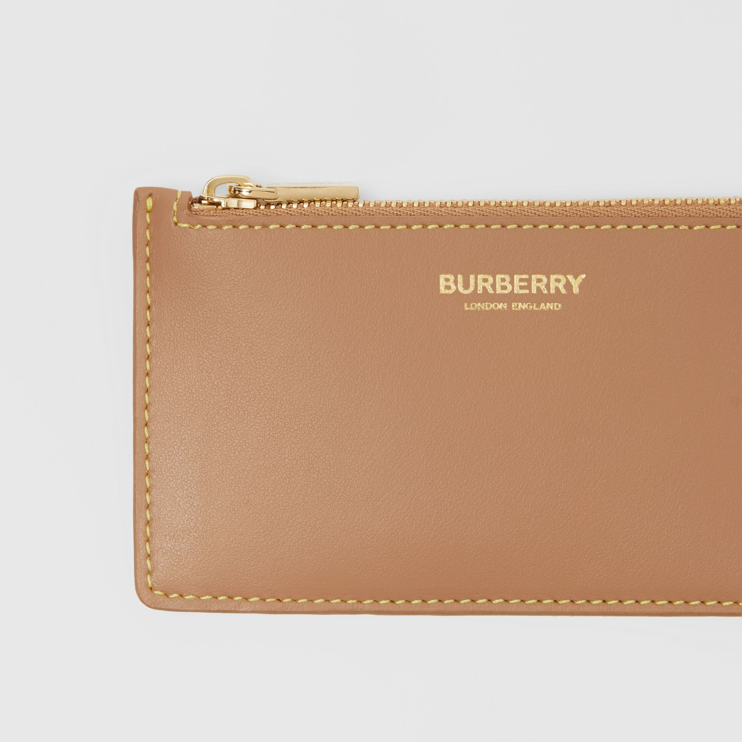 Leather Zip Card Case in Camel/marigold Yellow - Women | Burberry - 2