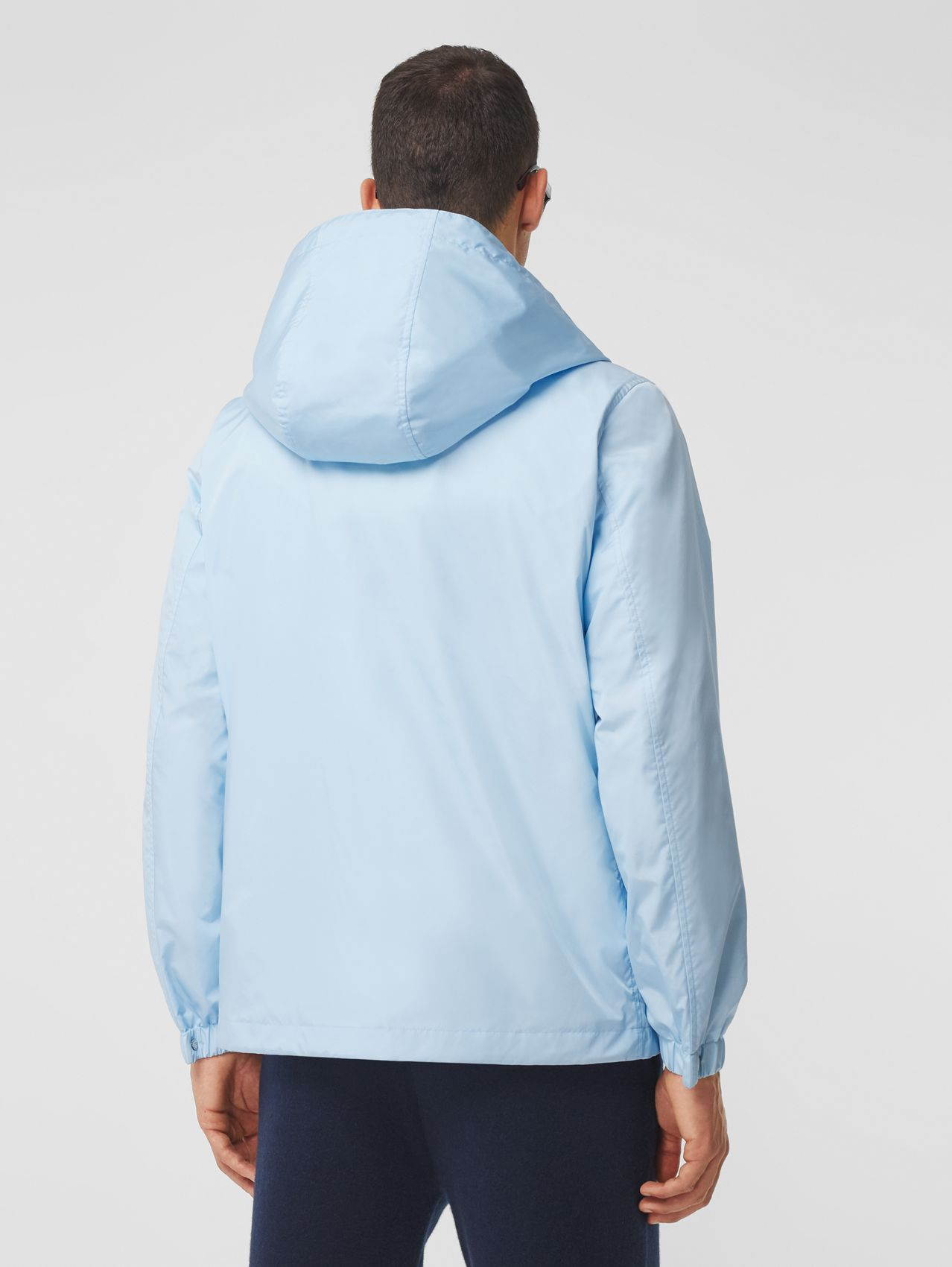 Montage Print ECONYL® Hooded Jacket in Pale Blue