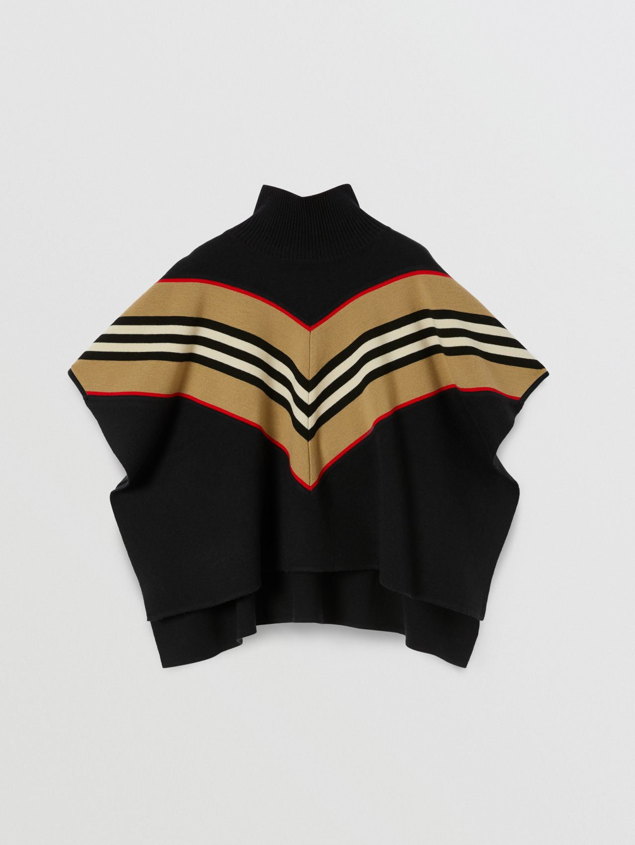 Icon Stripe Panel Wool Cashmere Blend Poncho
