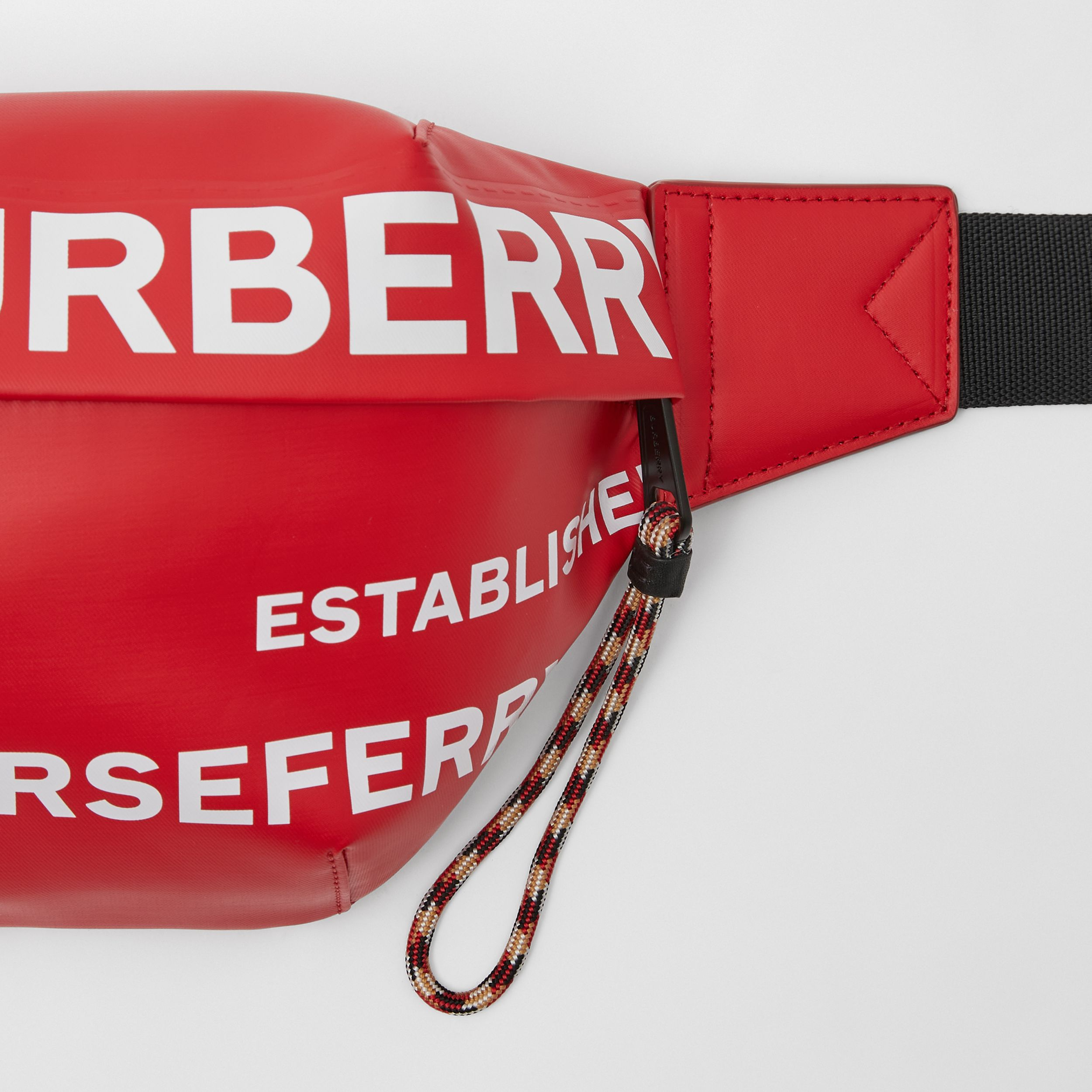 Horseferry Print Coated Canvas Sonny Bum Bag in Bright Red/white | Burberry - 2