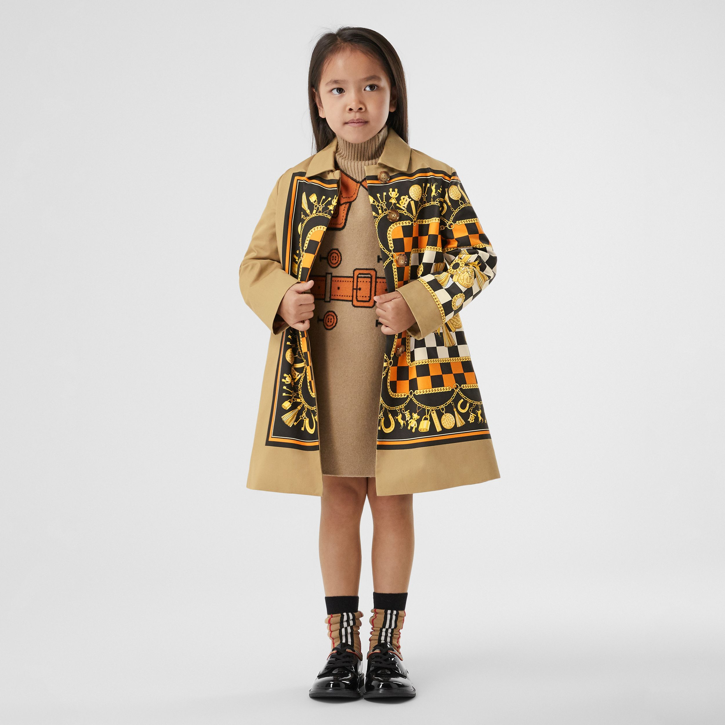 Scarf Print Cotton Twill Car Coat in Honey | Burberry - 2