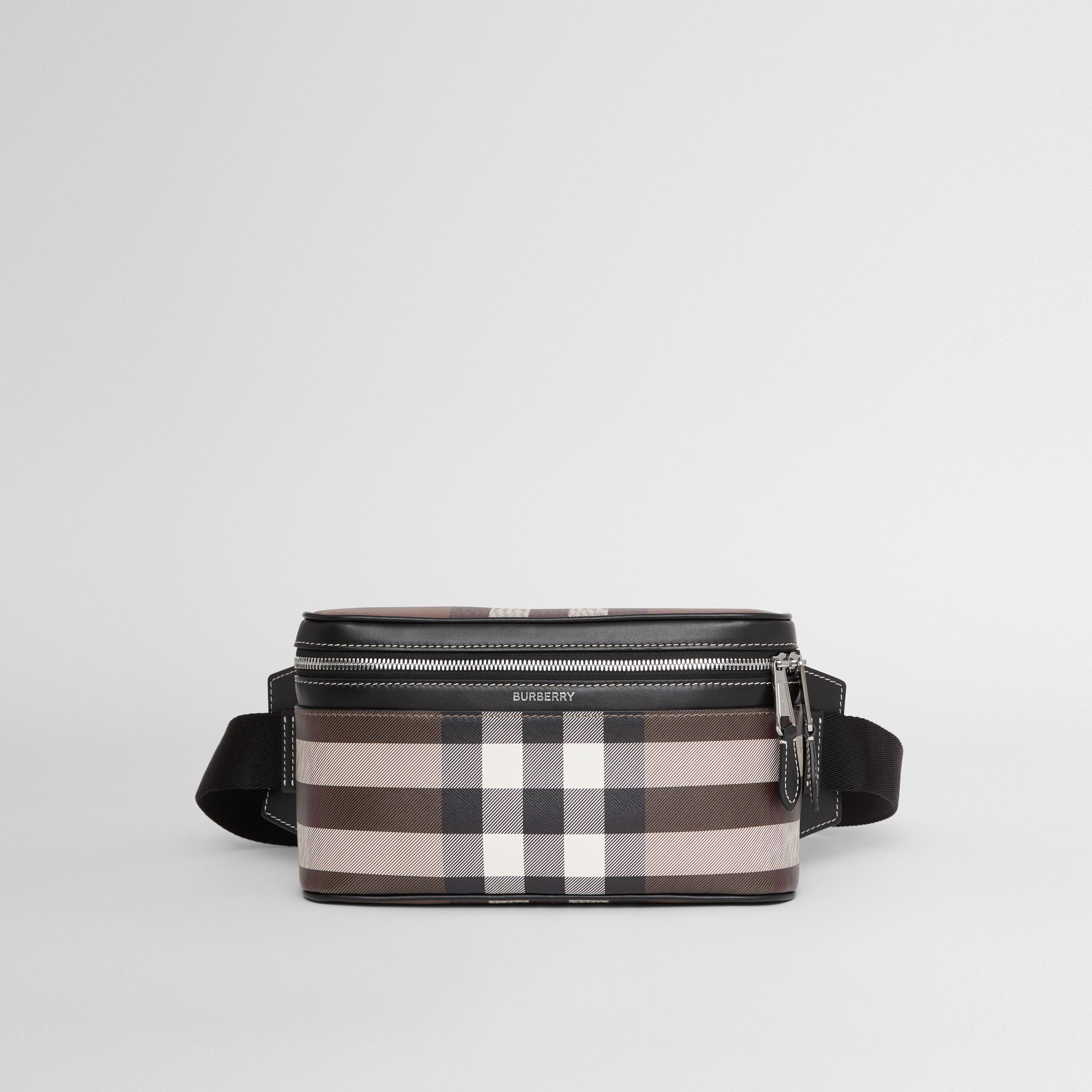 Check Print Leather Cube Bum Bag in Dark Birch Brown | Burberry United Kingdom - 1