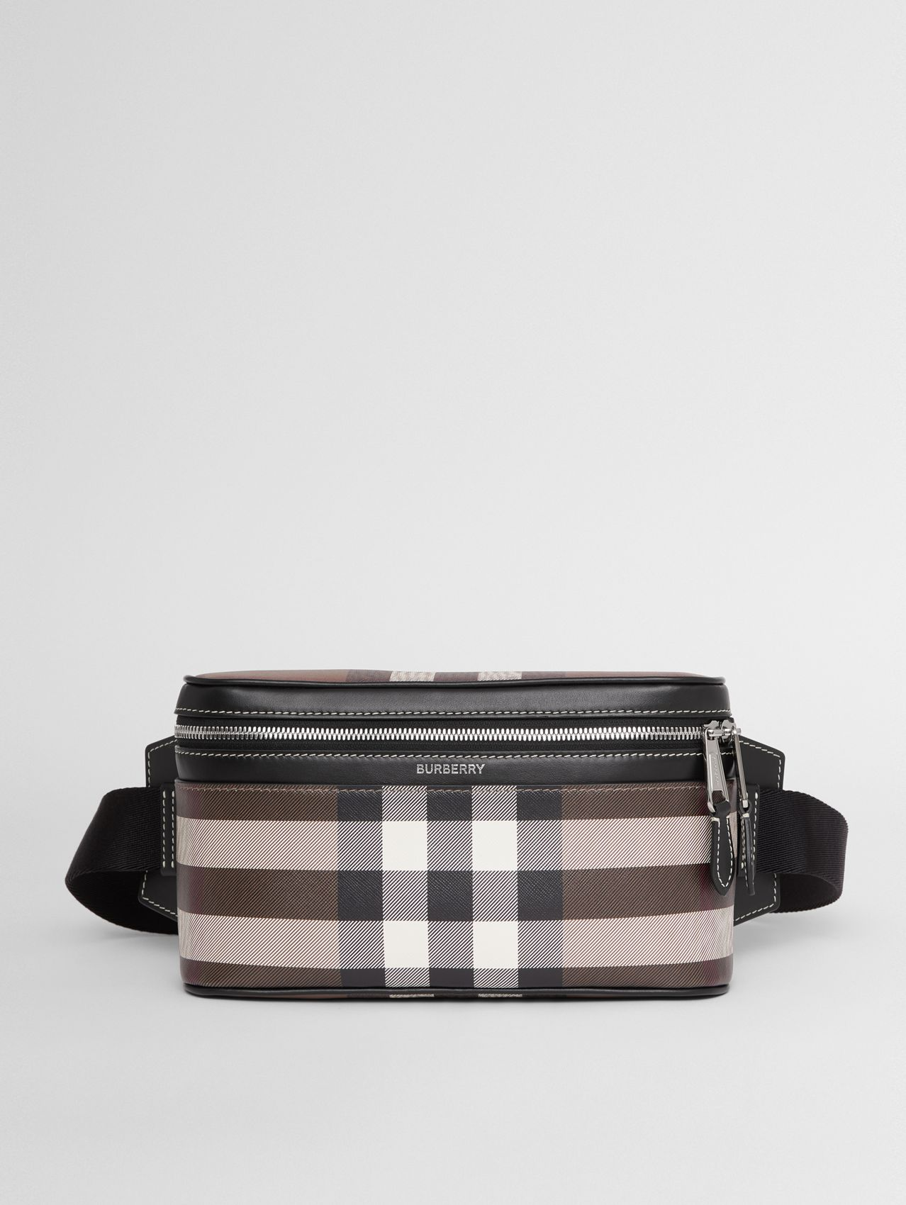 Check Print Leather Cube Bum Bag in Dark Birch Brown