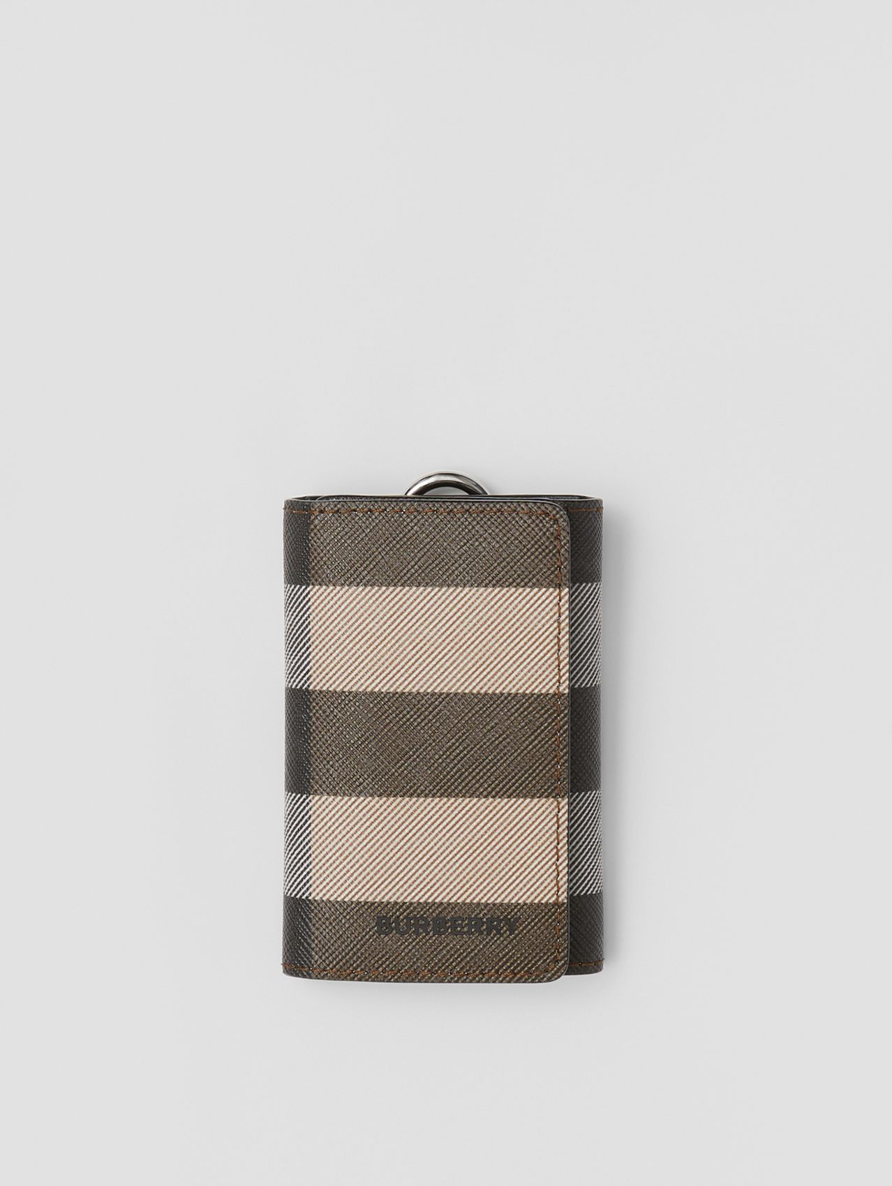 Check E-canvas and Leather Key Case in Dark Birch Brown