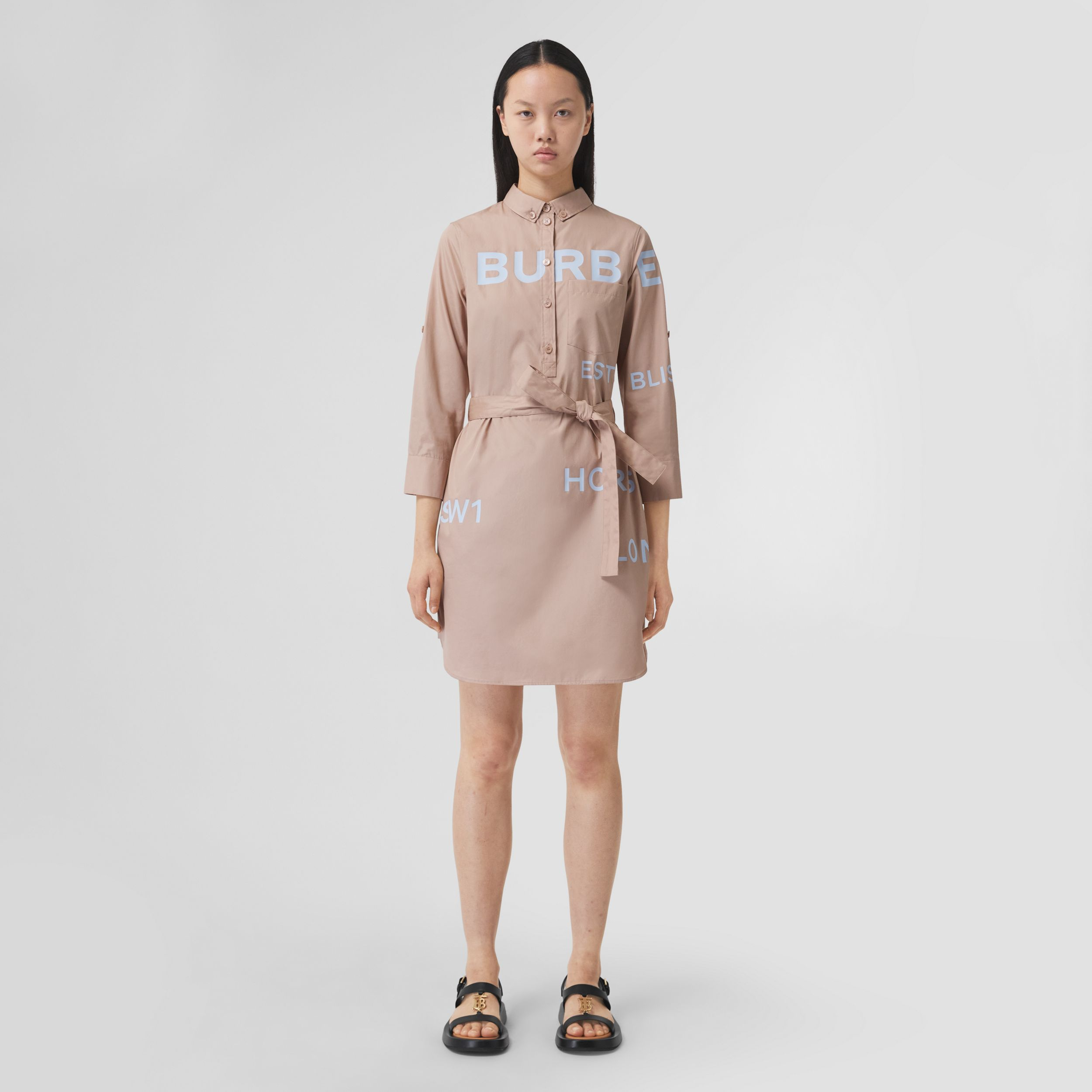 Horseferry Print Cotton Tie-waist Shirt Dress in Soft Fawn - Women | Burberry United Kingdom - 1