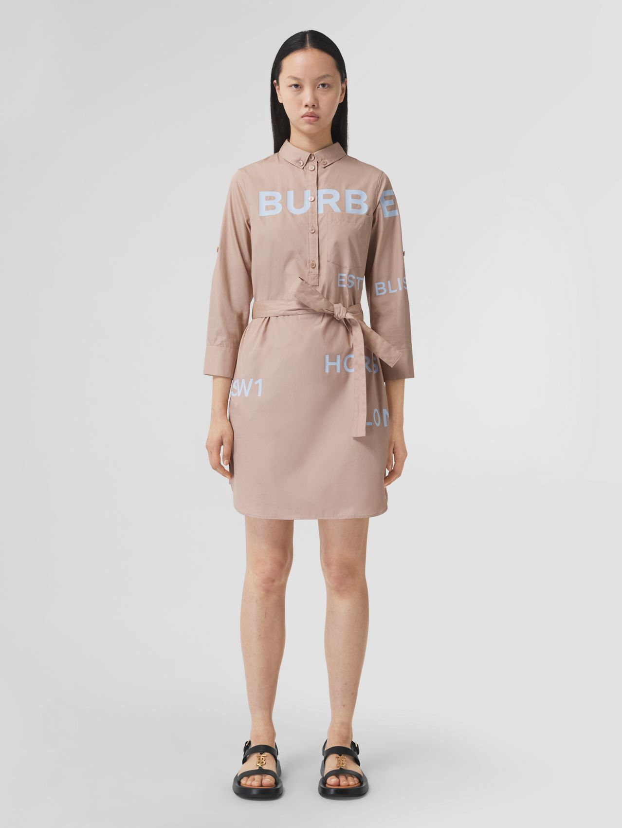 Horseferry Print Cotton Tie-waist Shirt Dress in Soft Fawn