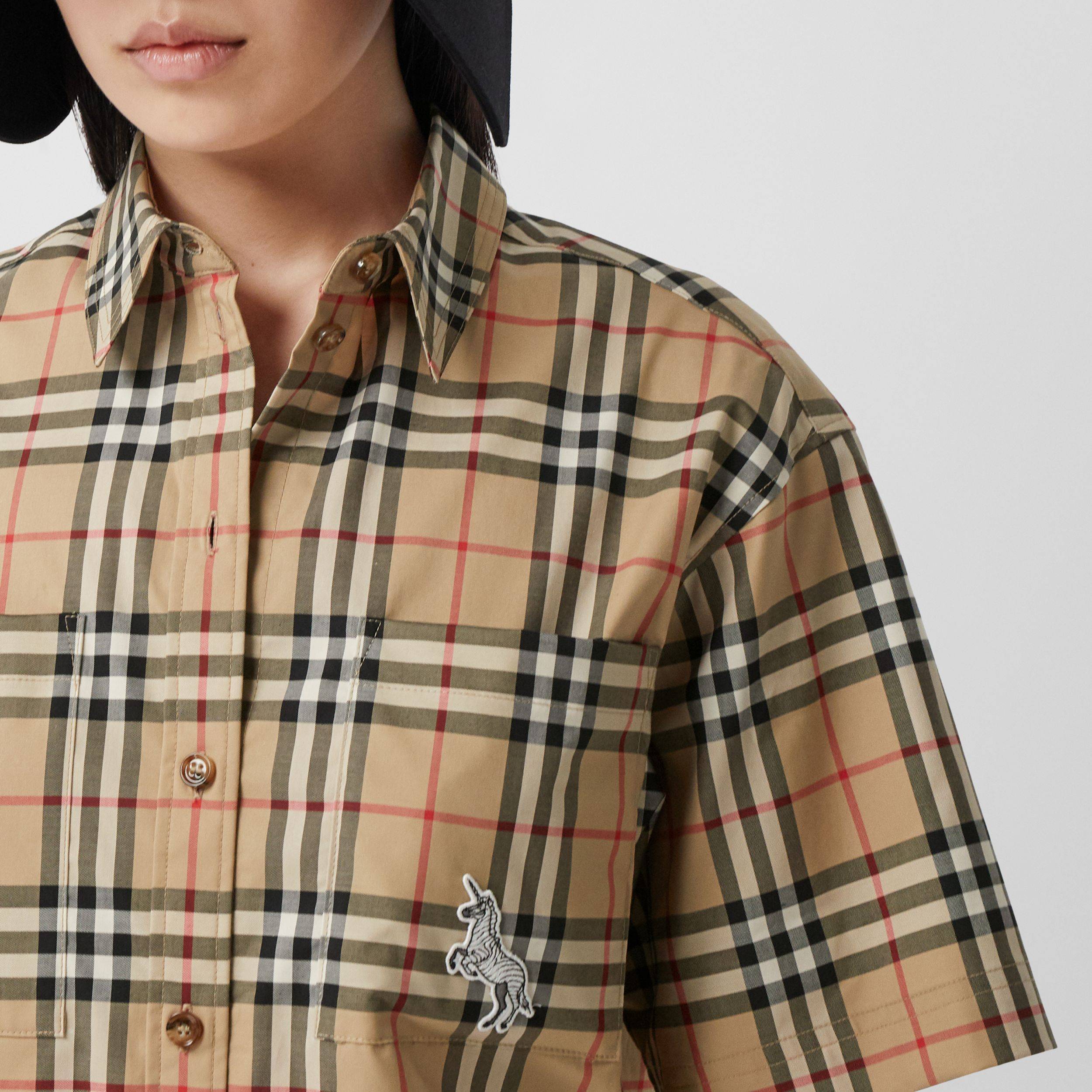 Zebra Appliqué Vintage Check Cotton Twill Shirt - Women | Burberry - 2