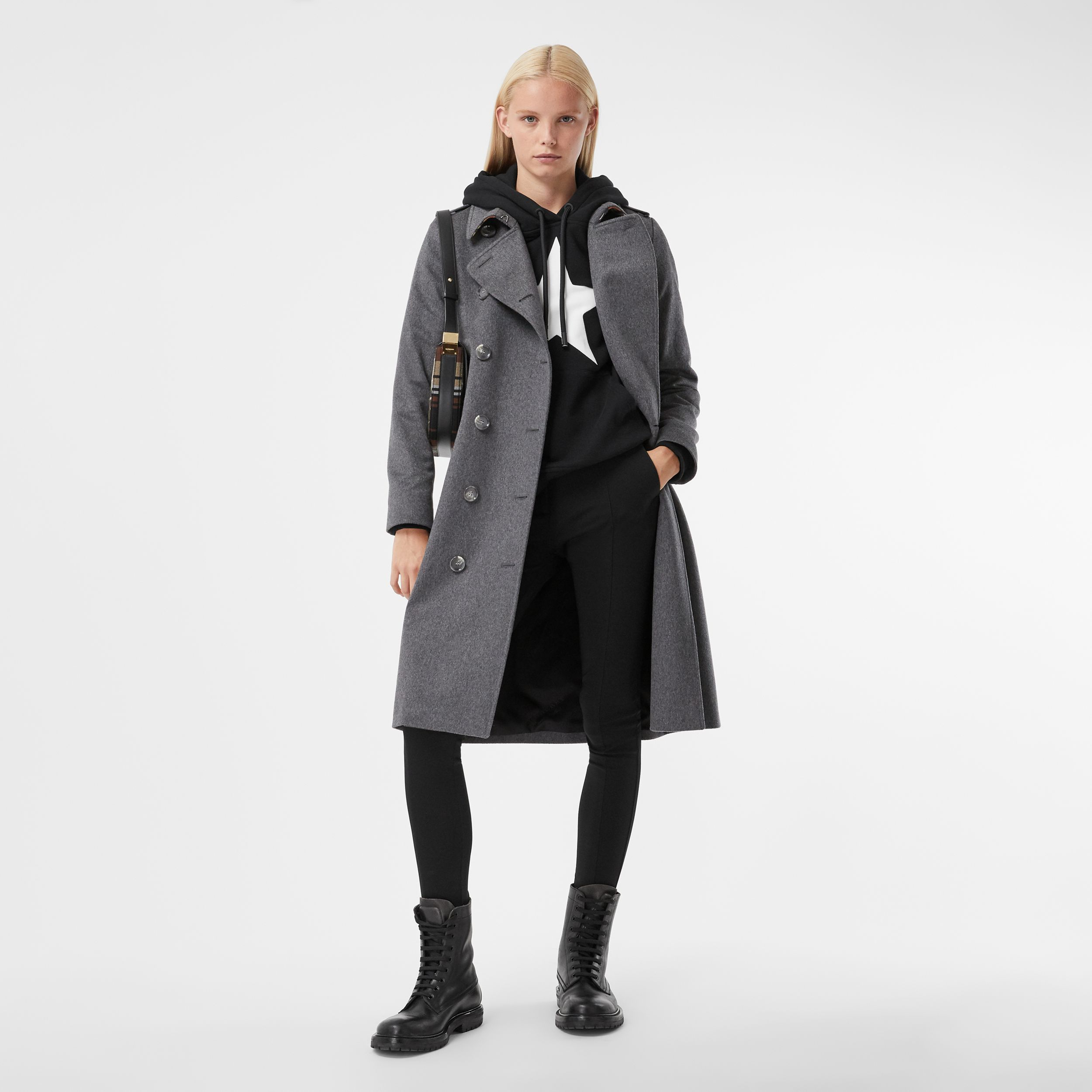Regenerated Cashmere Trench Coat in Mid Grey Melange - Women | Burberry - 1