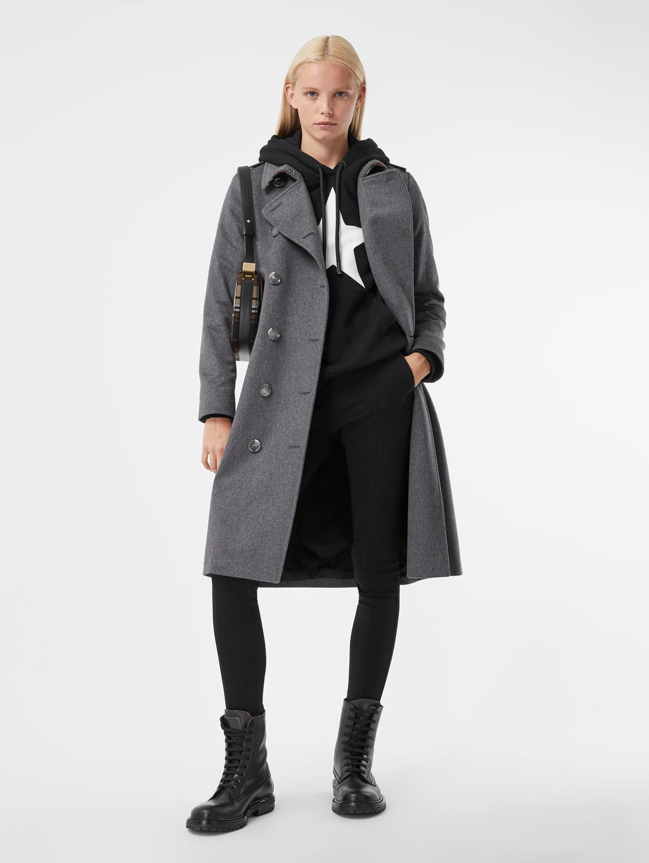 Cashmere Trench Coat in Mid Grey Melange
