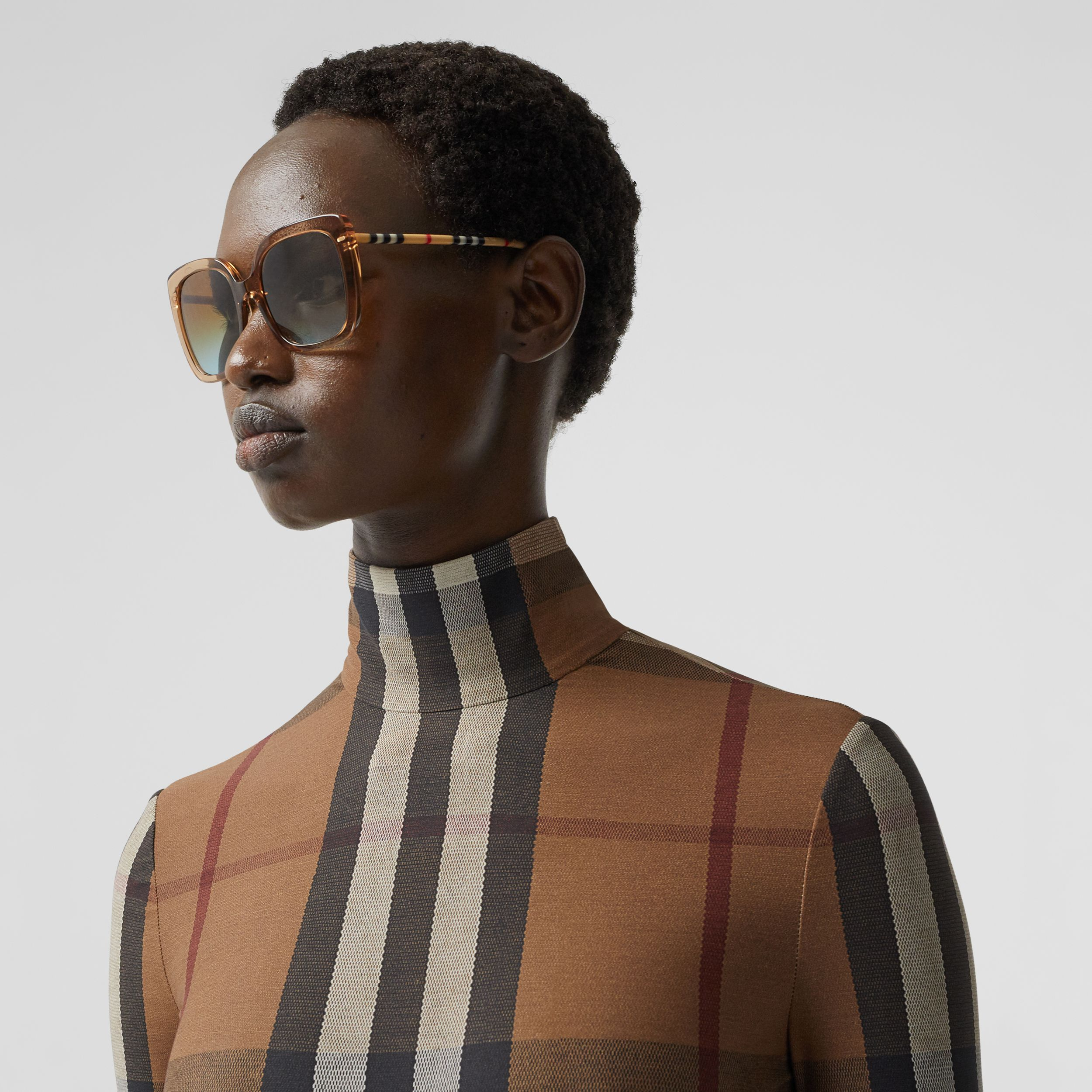 Oversized Square Frame Sunglasses in Peach - Women | Burberry - 3
