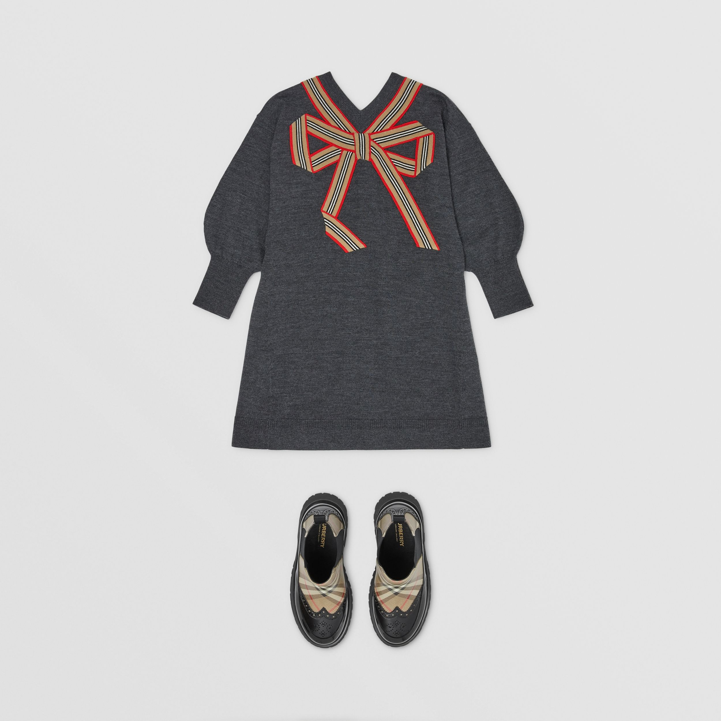 Icon Stripe Bow Merino Wool Silk Sweater Dress in Charcoal | Burberry Hong Kong S.A.R. - 3