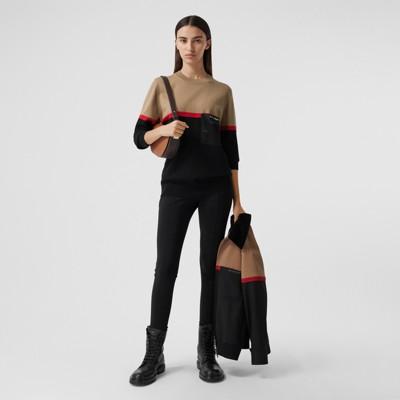 Colour Block Merino Wool Cotton Sweater in Black - Women   Burberry United Kingdom