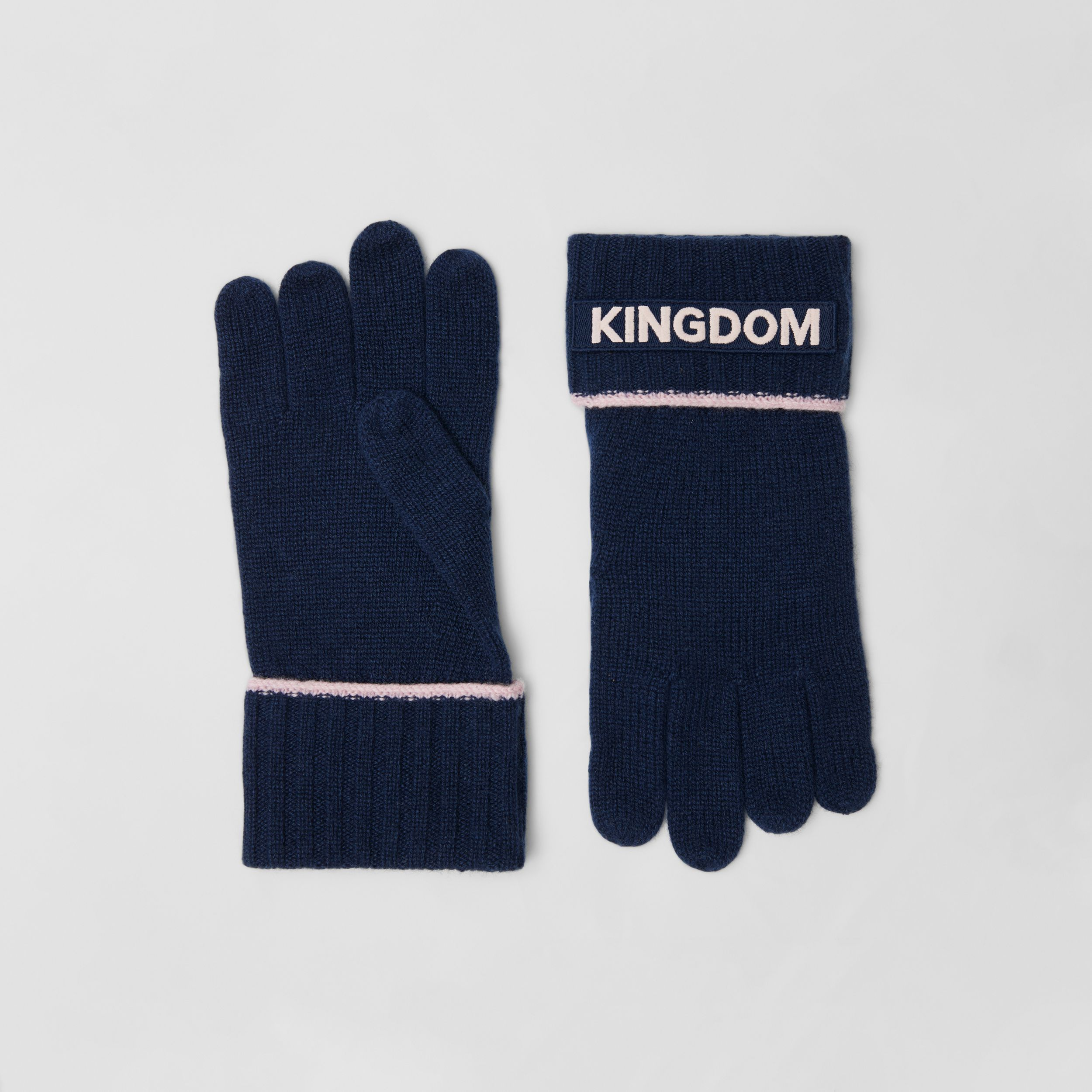 Kingdom and Logo Appliqué Cashmere Gloves in Navy | Burberry - 1
