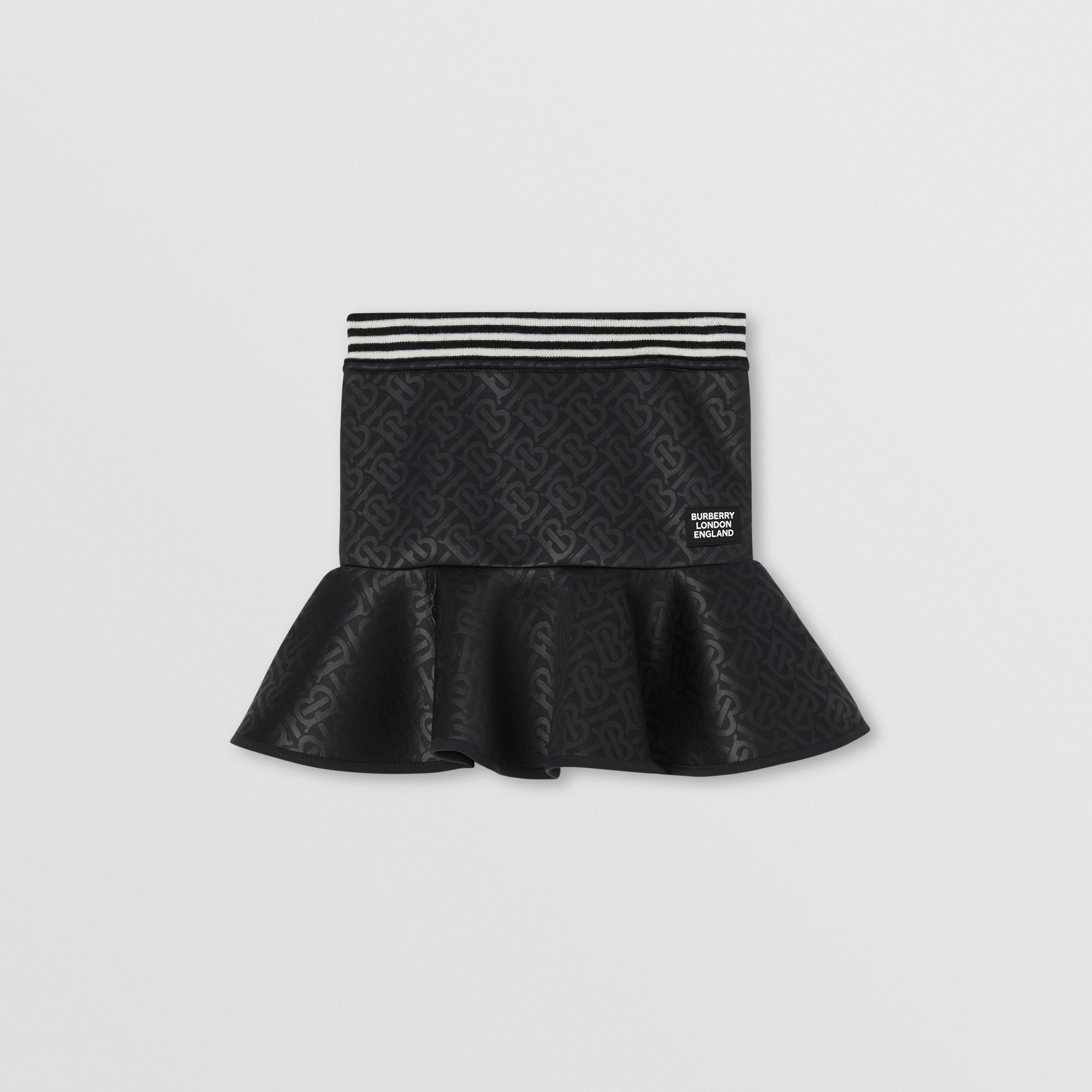 Logo Appliqué Monogram Jersey Skirt in Black | Burberry - 1