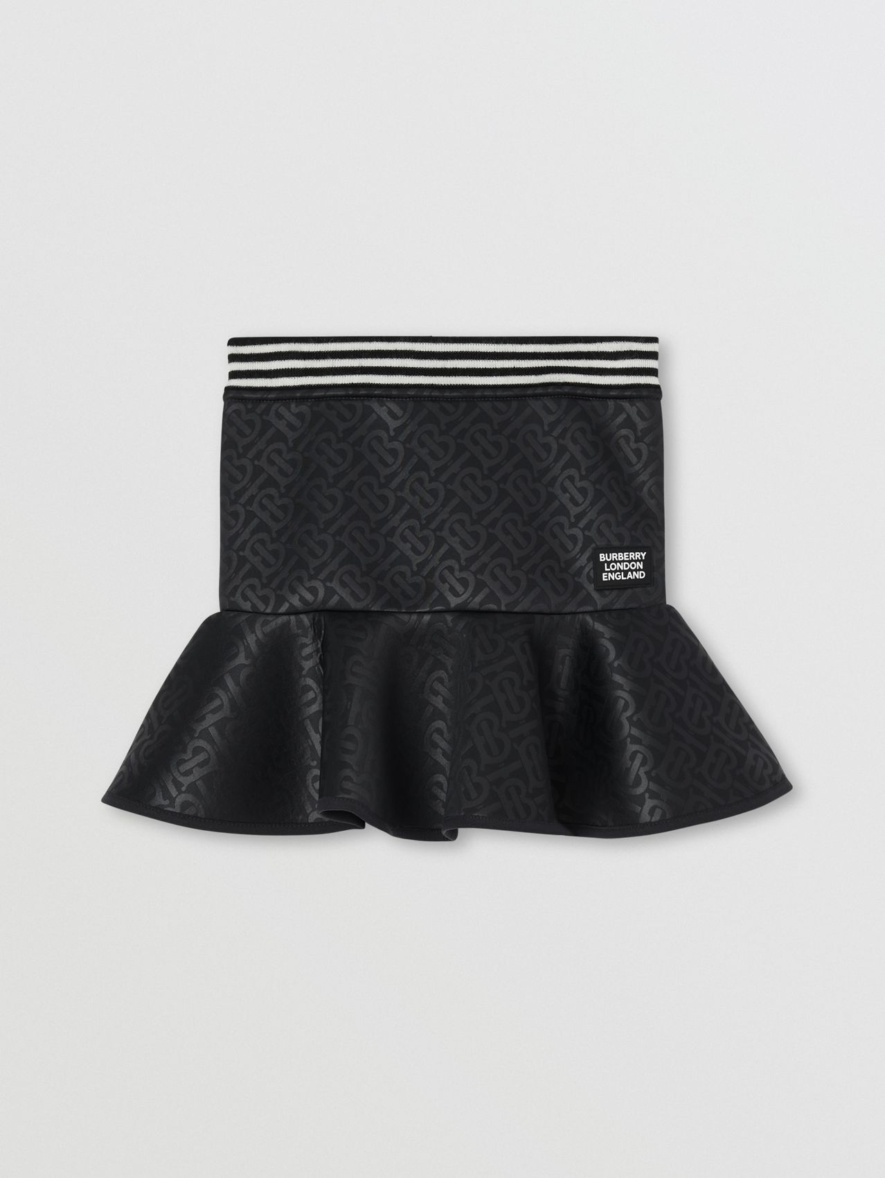 Logo Appliqué Monogram Jersey Skirt (Black)