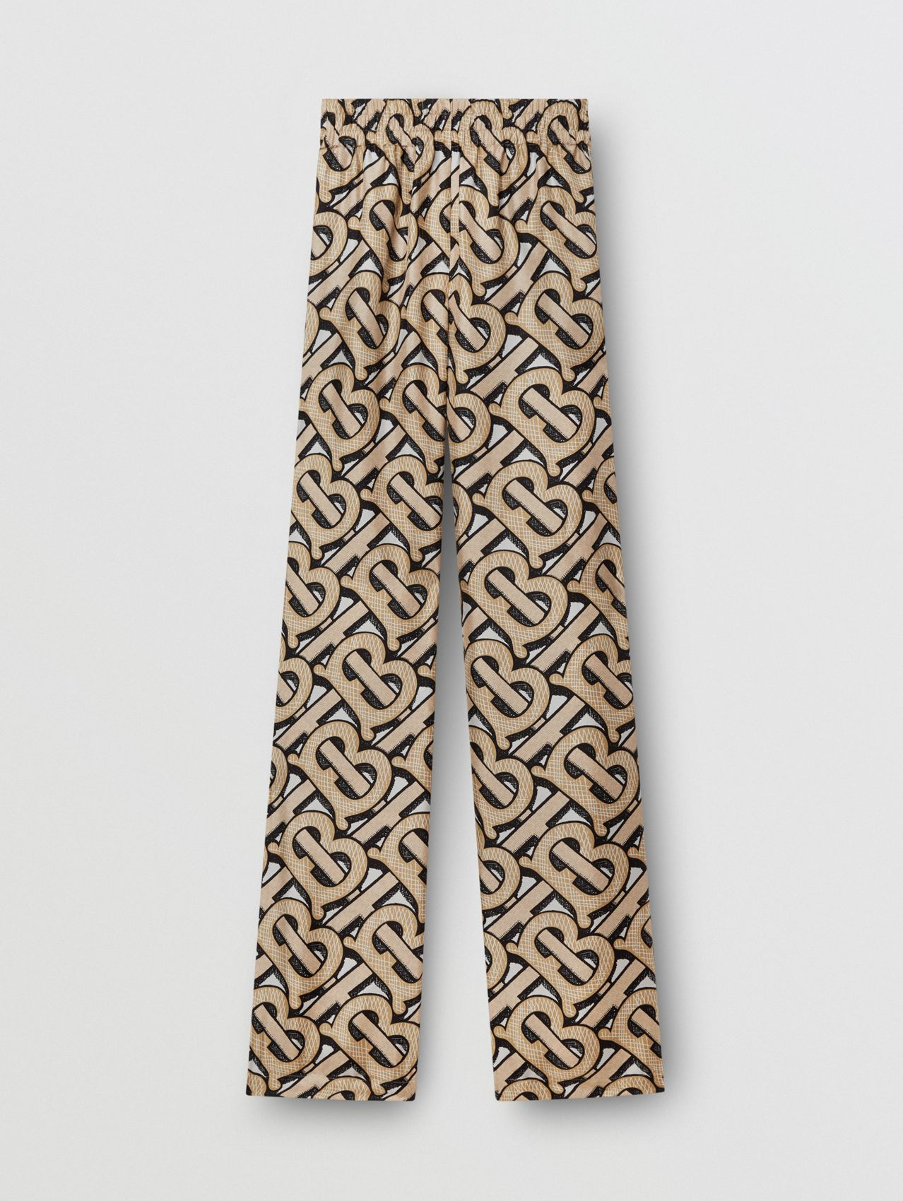 Monogram Print Silk Twill Wide-leg Trousers (Multicolour)