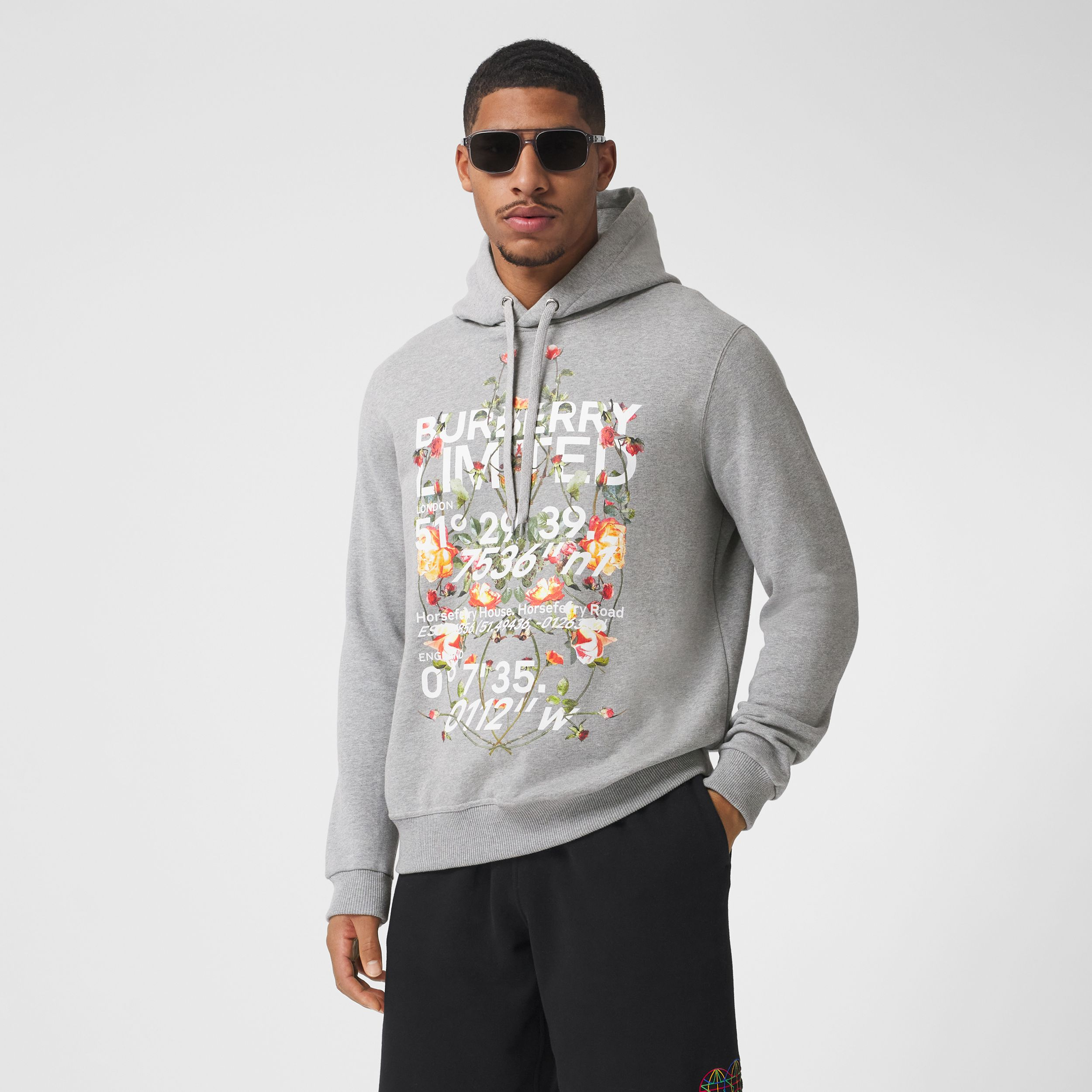 Montage Print Cotton Hoodie in Pale Grey Melange - Men | Burberry - 1