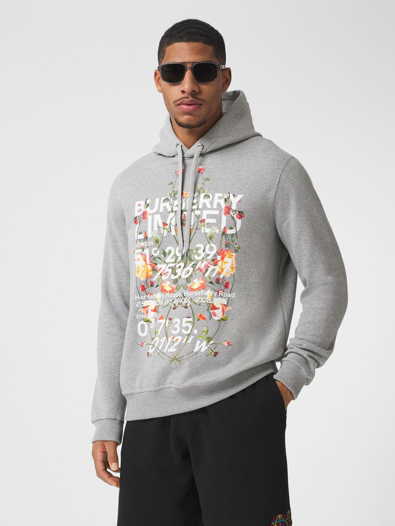 Montage Print Cotton Hoodie in Pale Grey Melange