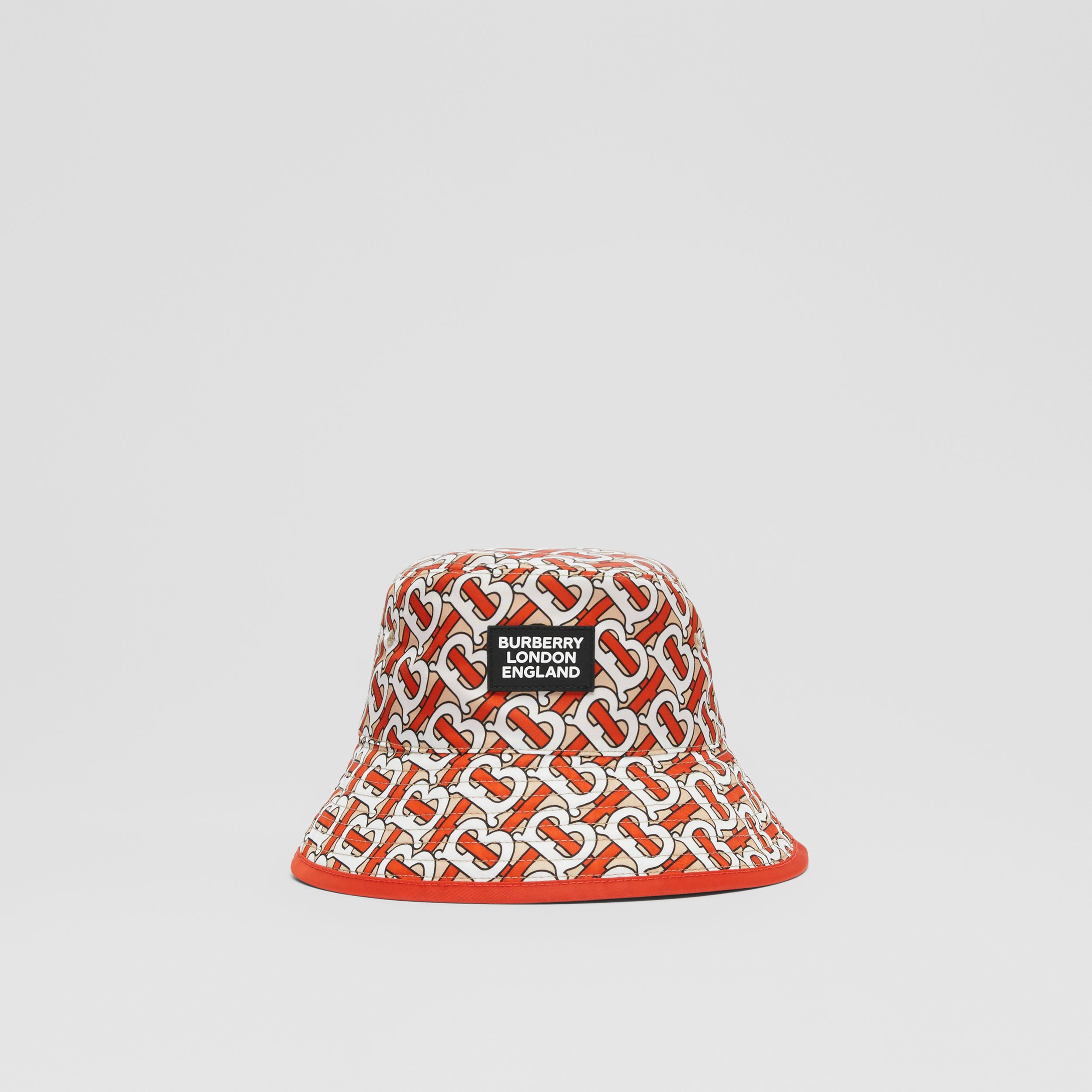 Reversible Monogram Print Bucket Hat in Vermilion - Children | Burberry Hong Kong S.A.R. - 1
