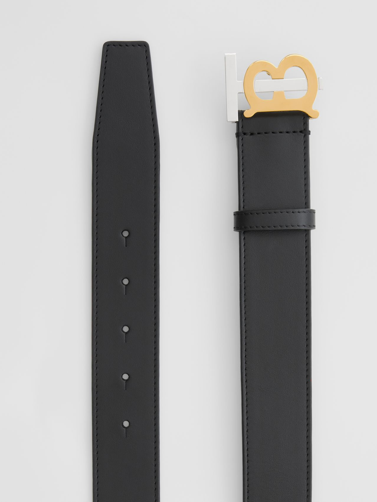 Two-tone Monogram Motif Leather Belt in Black