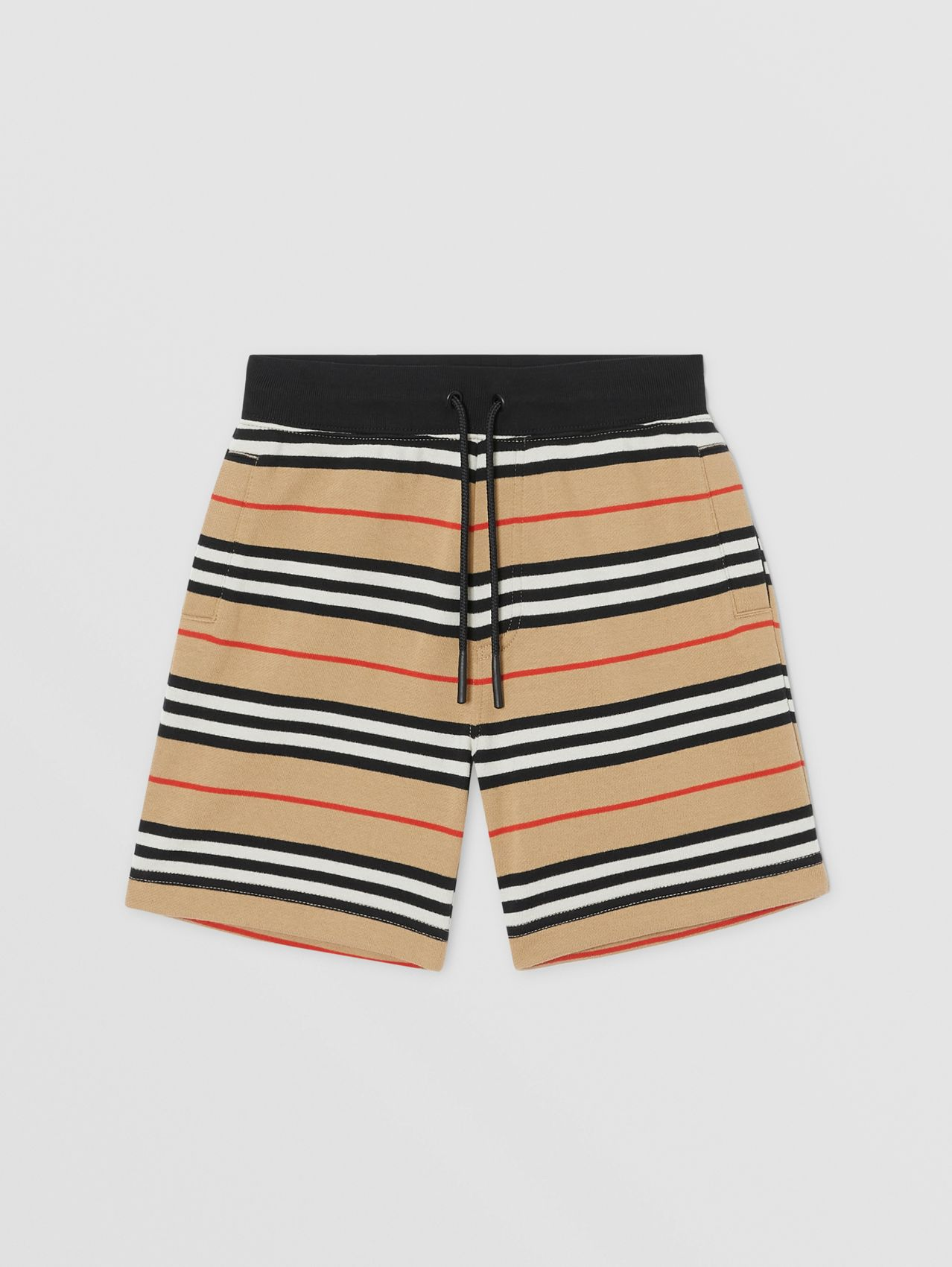 Icon Stripe Cotton Shorts in Archive Beige