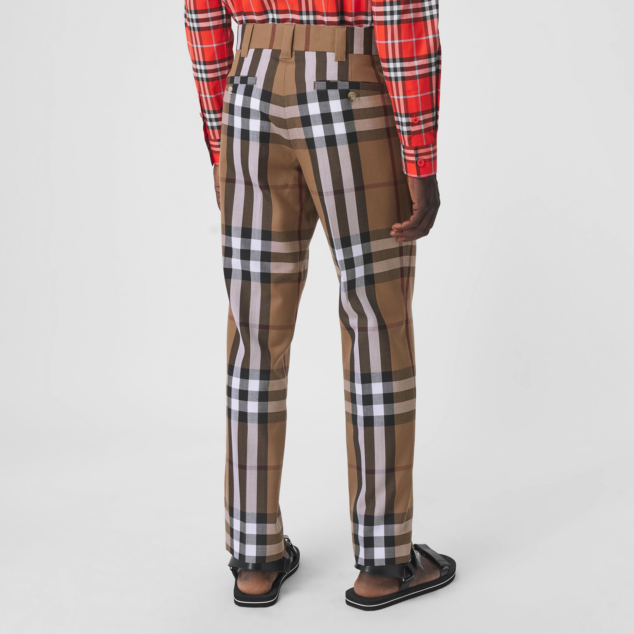 Check Wool Cropped Tailored Trousers in Birch Brown - Men | Burberry United Kingdom - 3