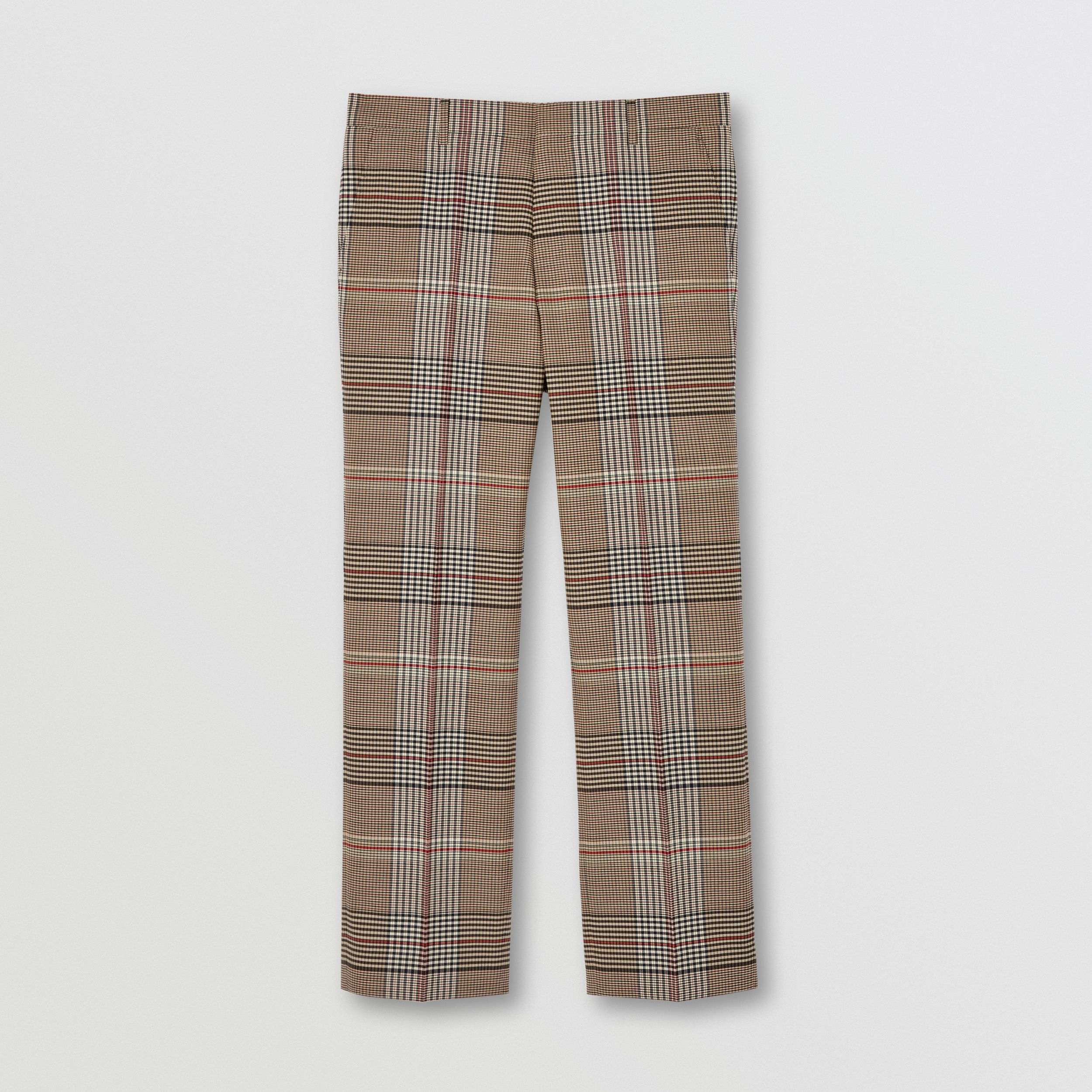 Check Wool Tailored Trousers in Beige | Burberry - 4