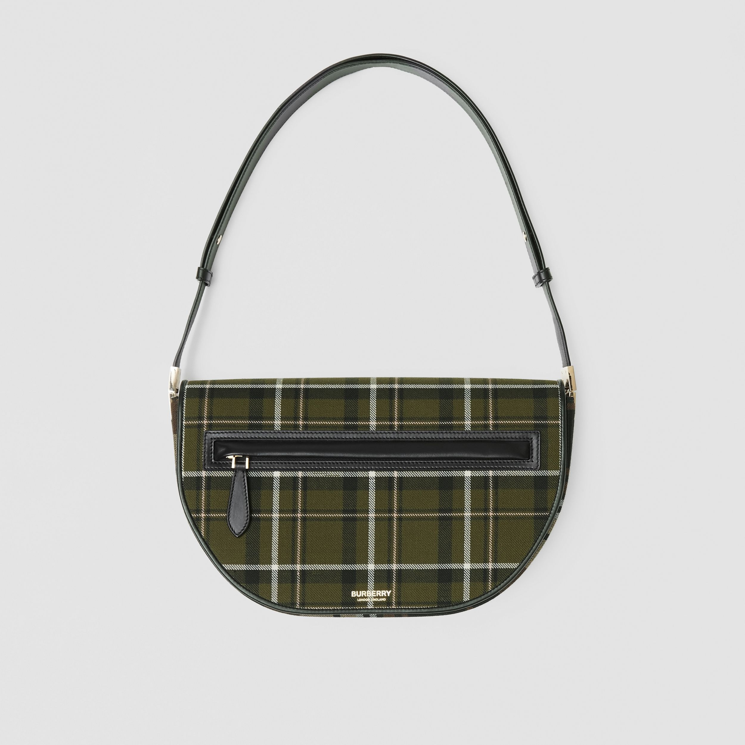 Medium Tartan Wool and Leather Olympia Bag in Dark Green | Burberry United Kingdom - 1