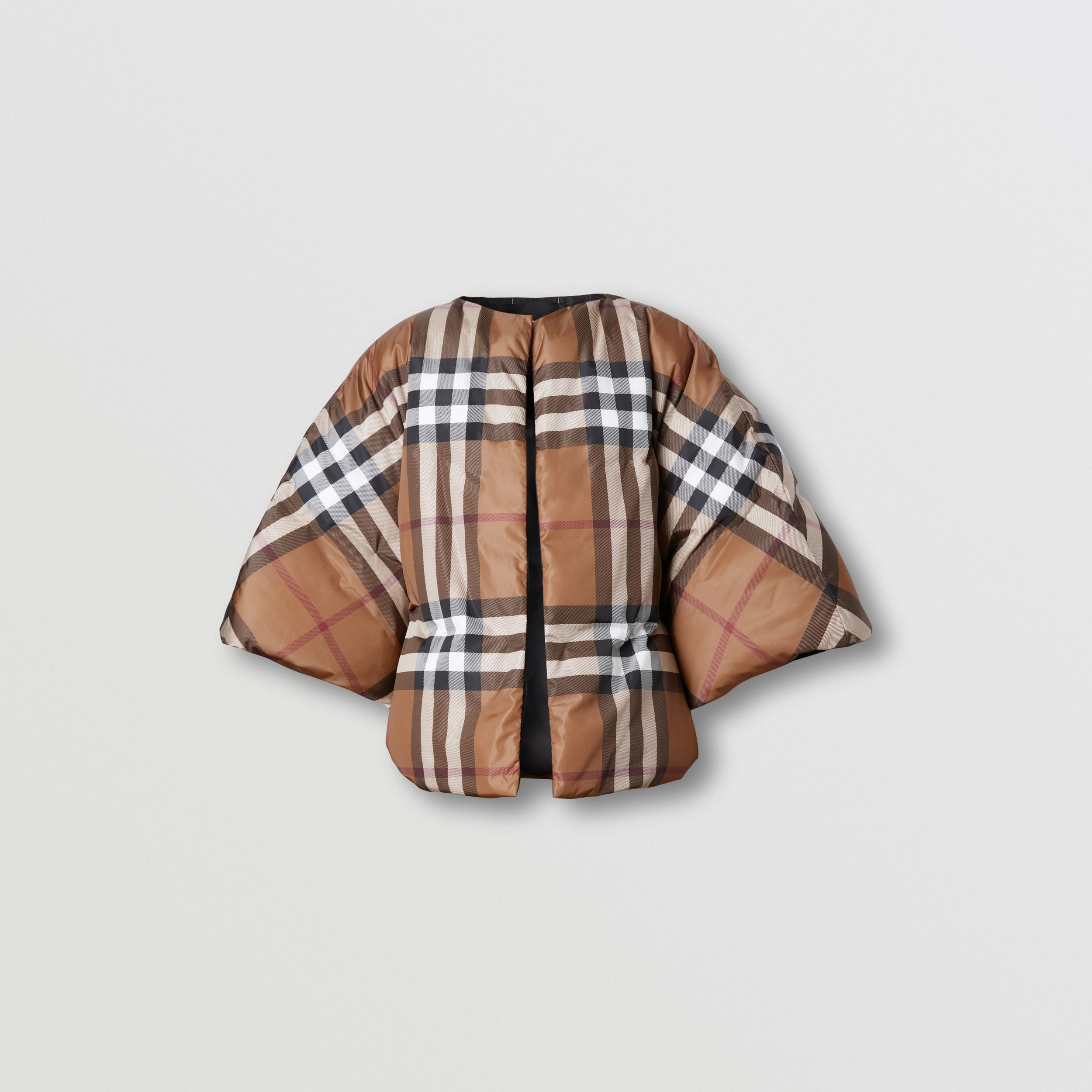 Check Print ECONYL® Cape in Birch Brown - Women | Burberry - 4