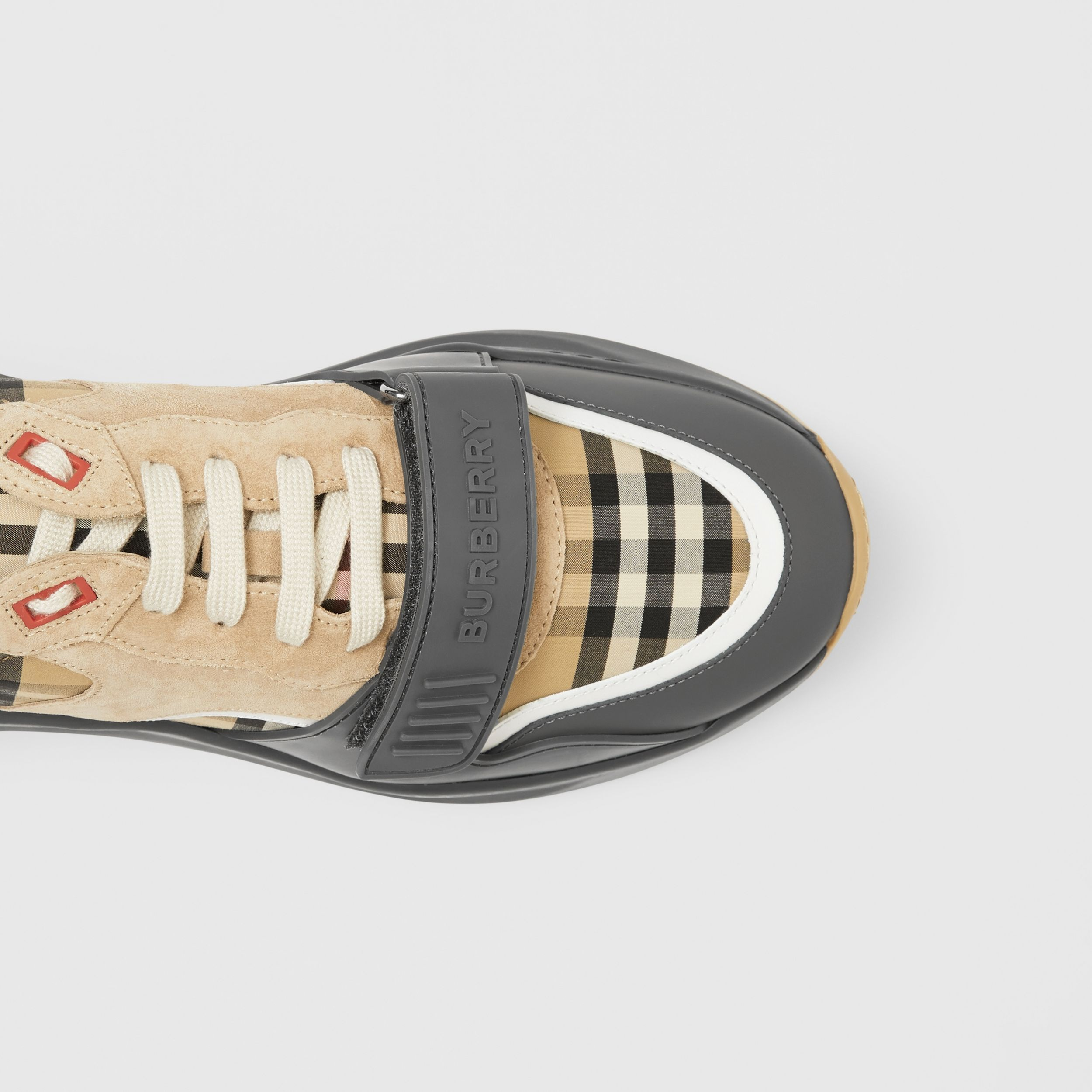 Vintage Check, Suede and Leather Sneakers in Grey/archive Beige - Men | Burberry United Kingdom - 2