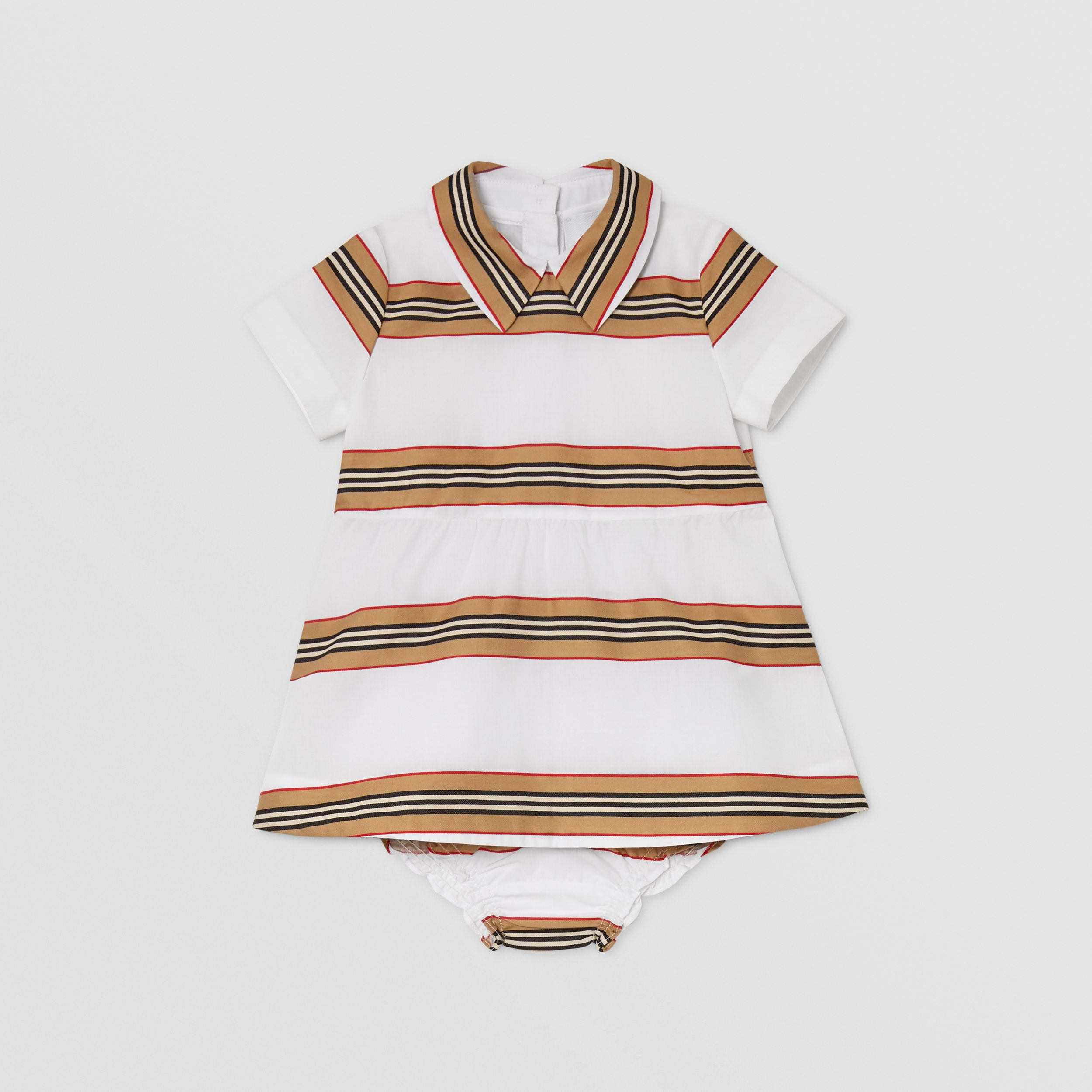 Icon Stripe Cotton Dress with Bloomers in White - Children | Burberry - 1
