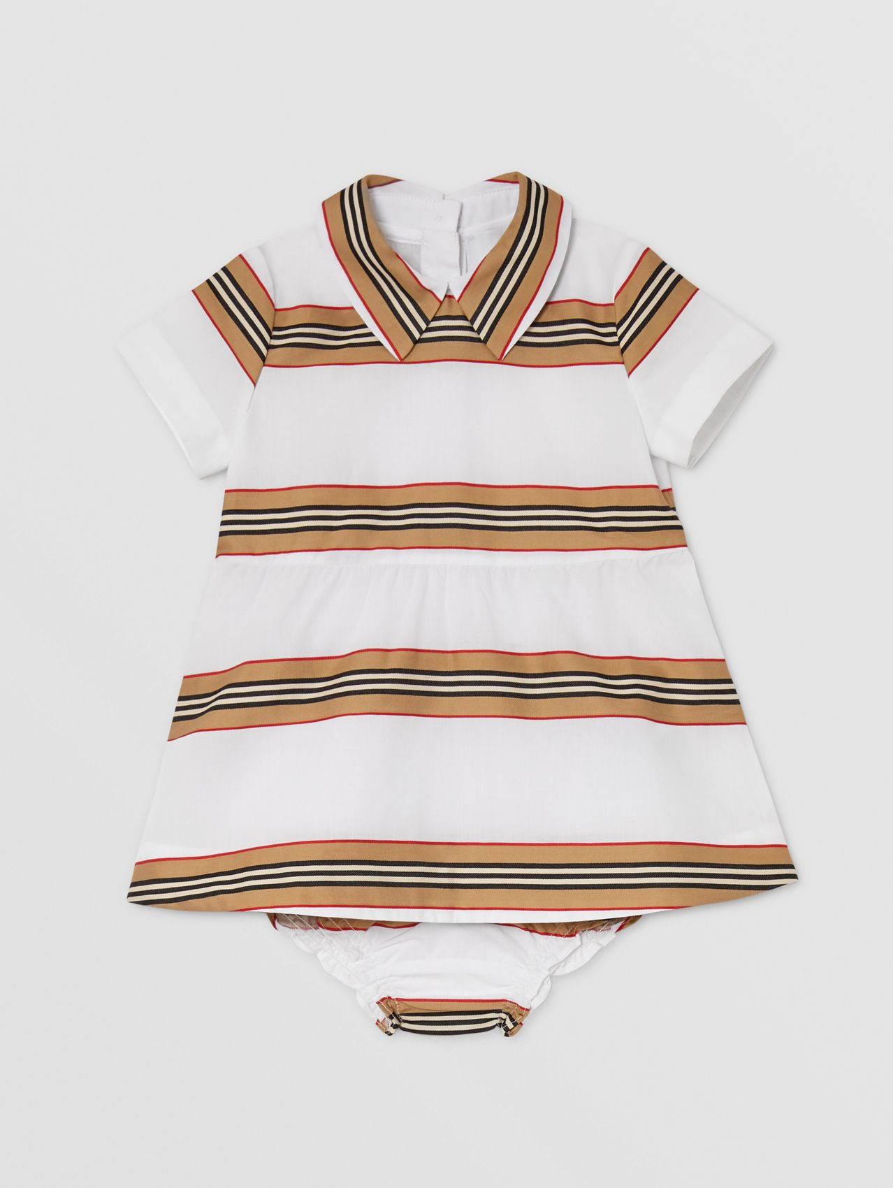 Icon Stripe Cotton Dress with Bloomers in White