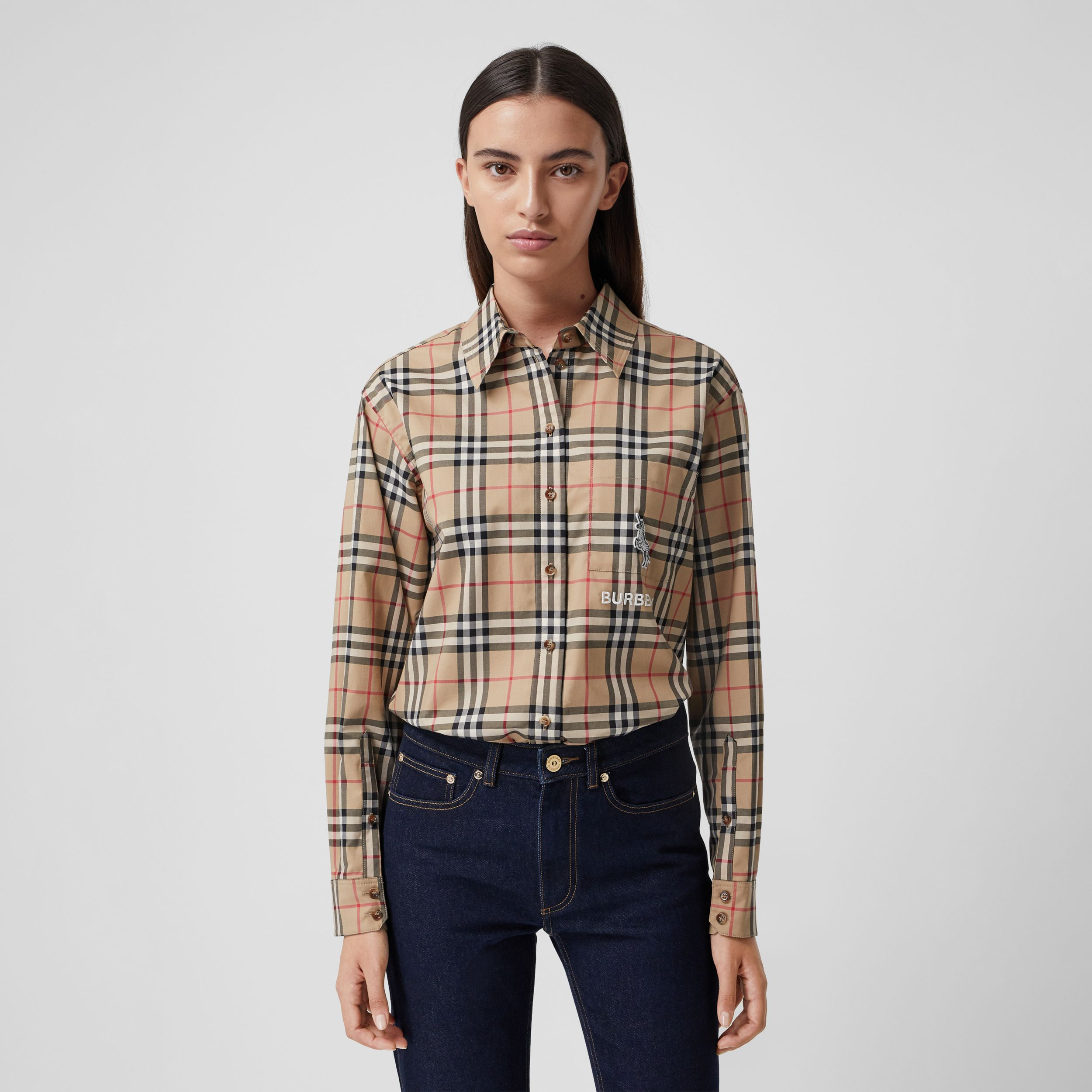Zebra Appliqué Vintage Check Cotton Oversized Shirt - Women | Burberry - 1