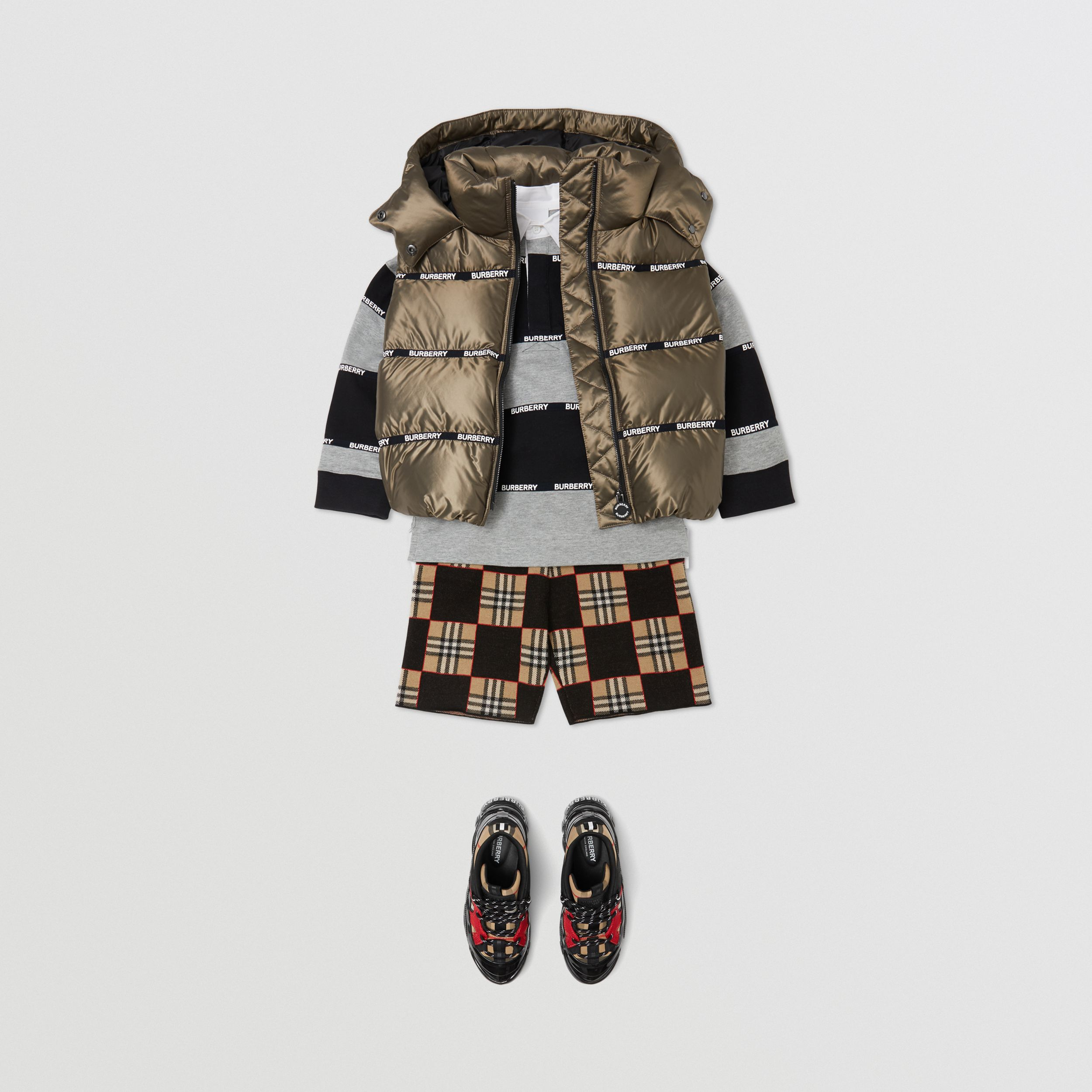 Logo Tape Hooded Puffer Gilet in Smoke | Burberry - 4