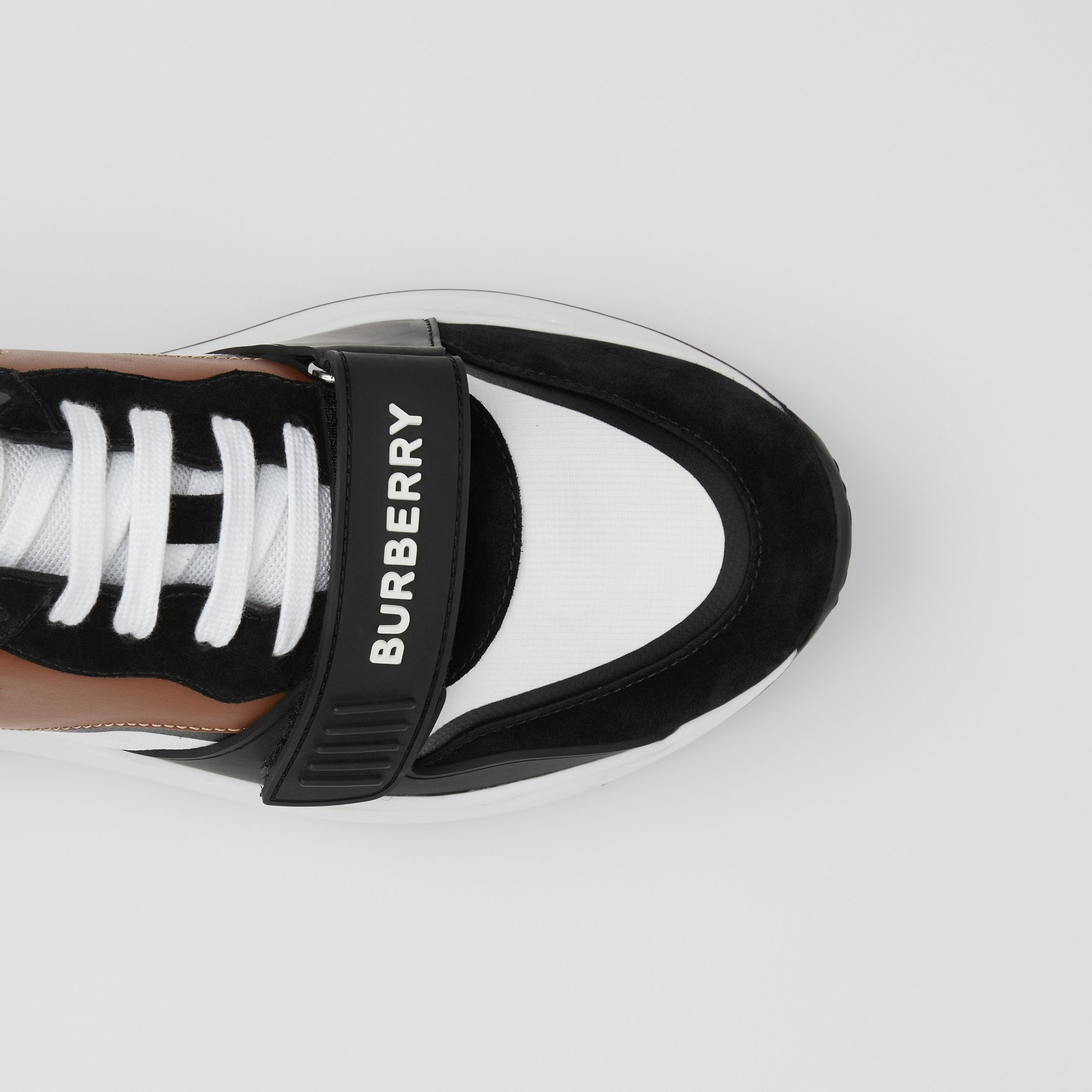 Leather, Suede and Vintage Check Sneakers in Black/archive Beige - Women | Burberry United States - 2