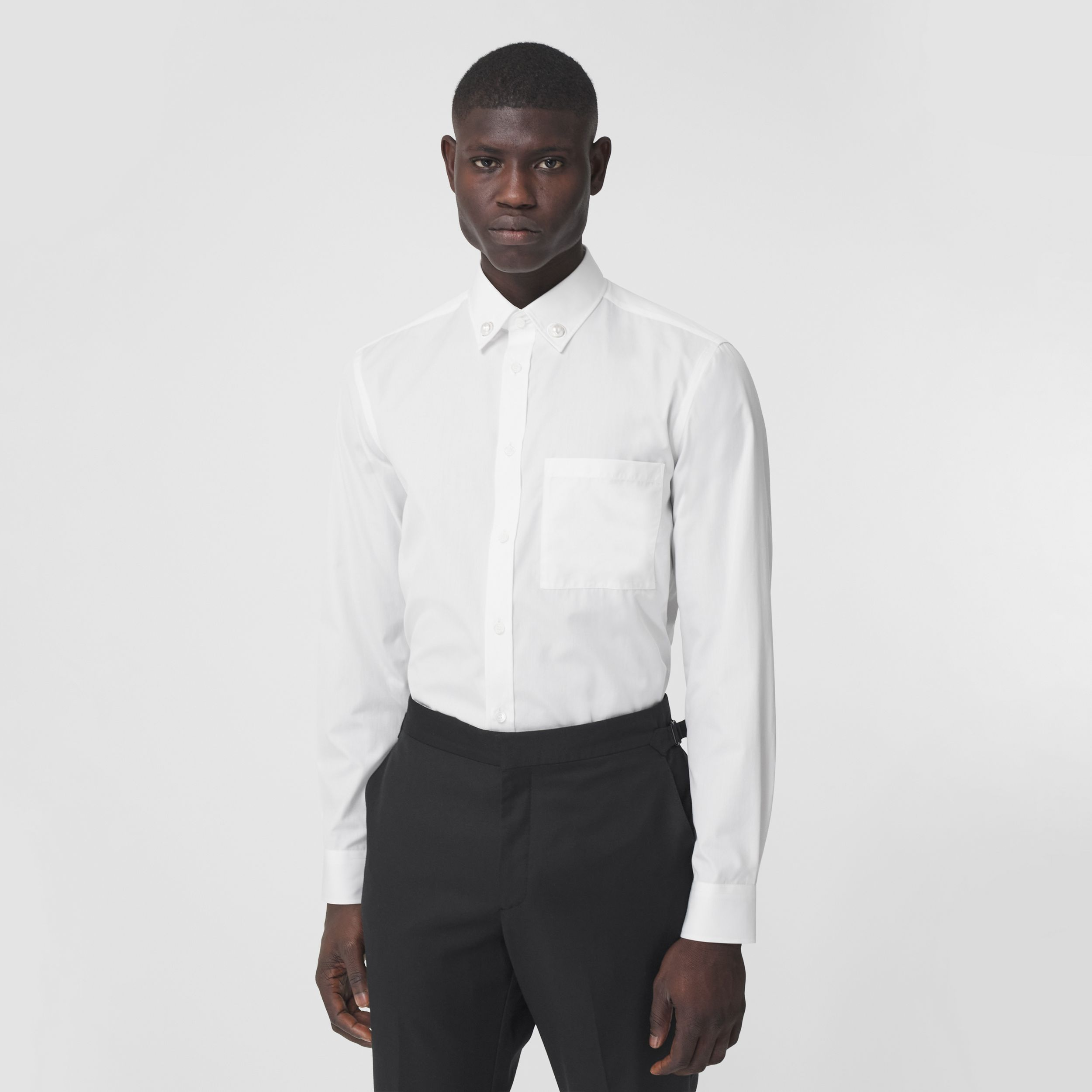 Slim Fit Resin Pearl Detail Cotton Shirt in White - Men | Burberry - 1