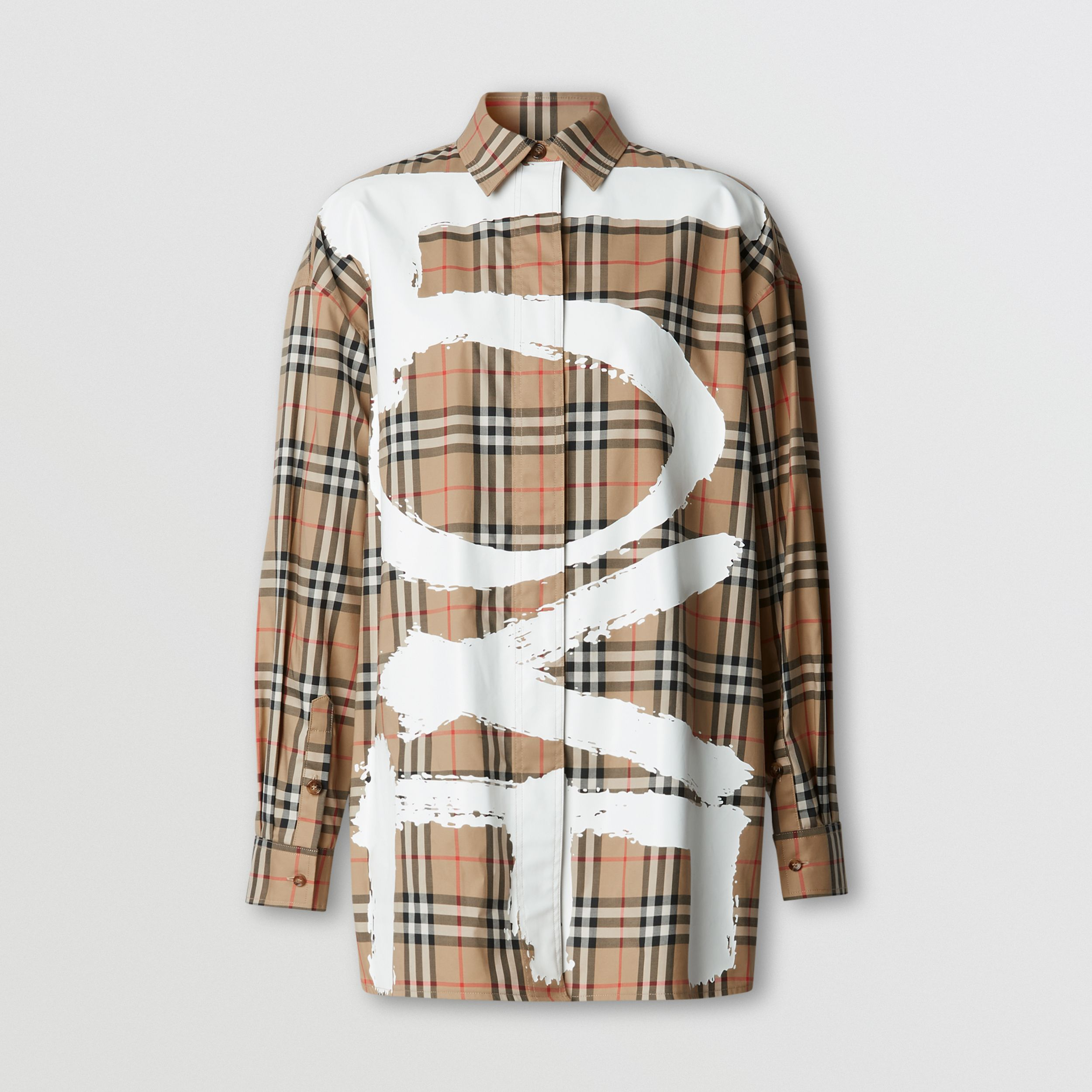 Love Print Vintage Check Cotton Oversized Shirt in Archive Beige - Women | Burberry - 4