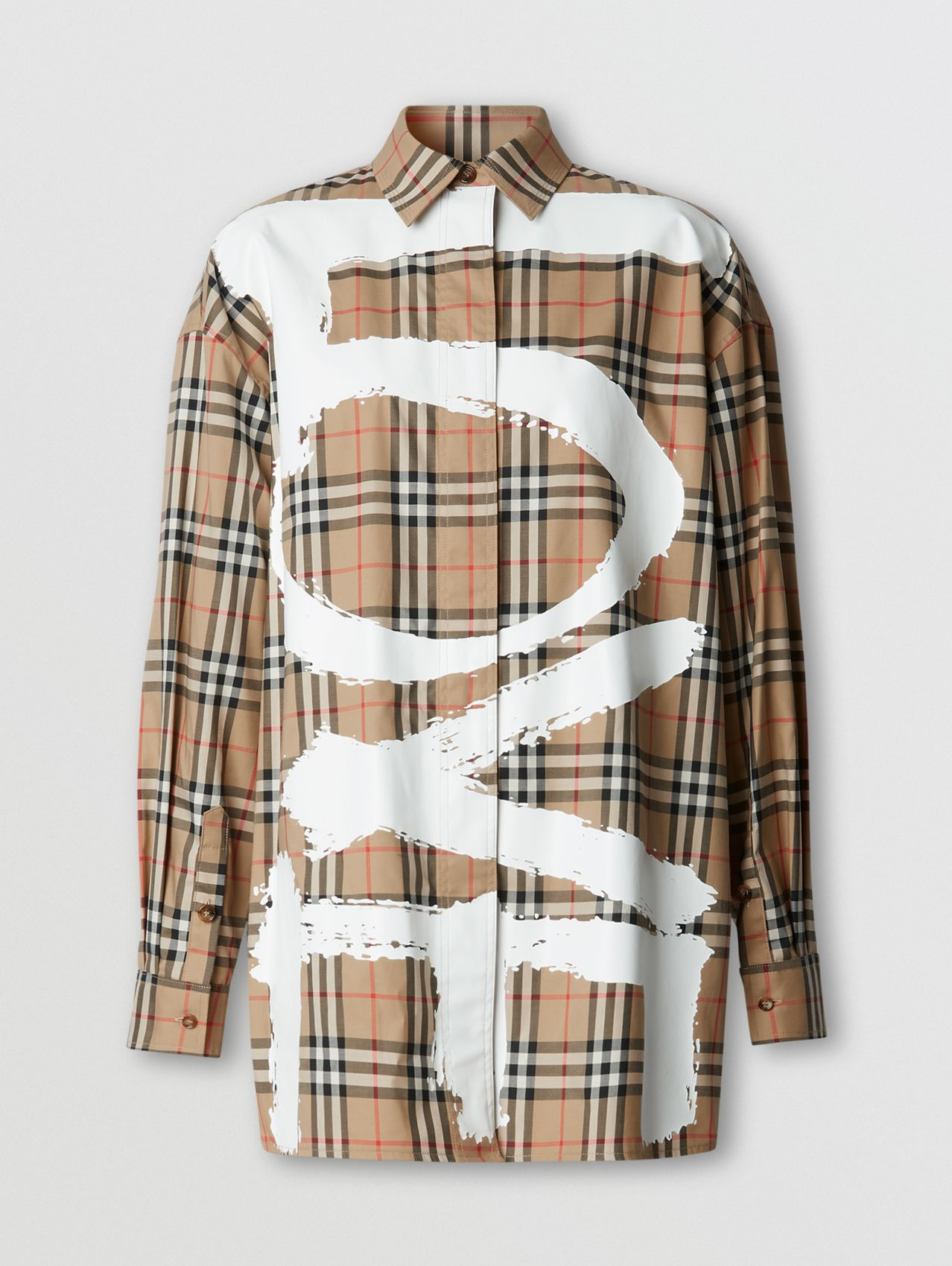 Love Print Vintage Check Cotton Oversized Shirt in Archive Beige