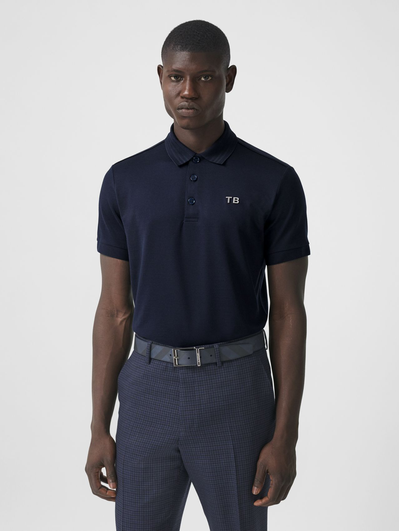 Letter Motif Silk Cotton Piqué Polo Shirt in Ink Blue