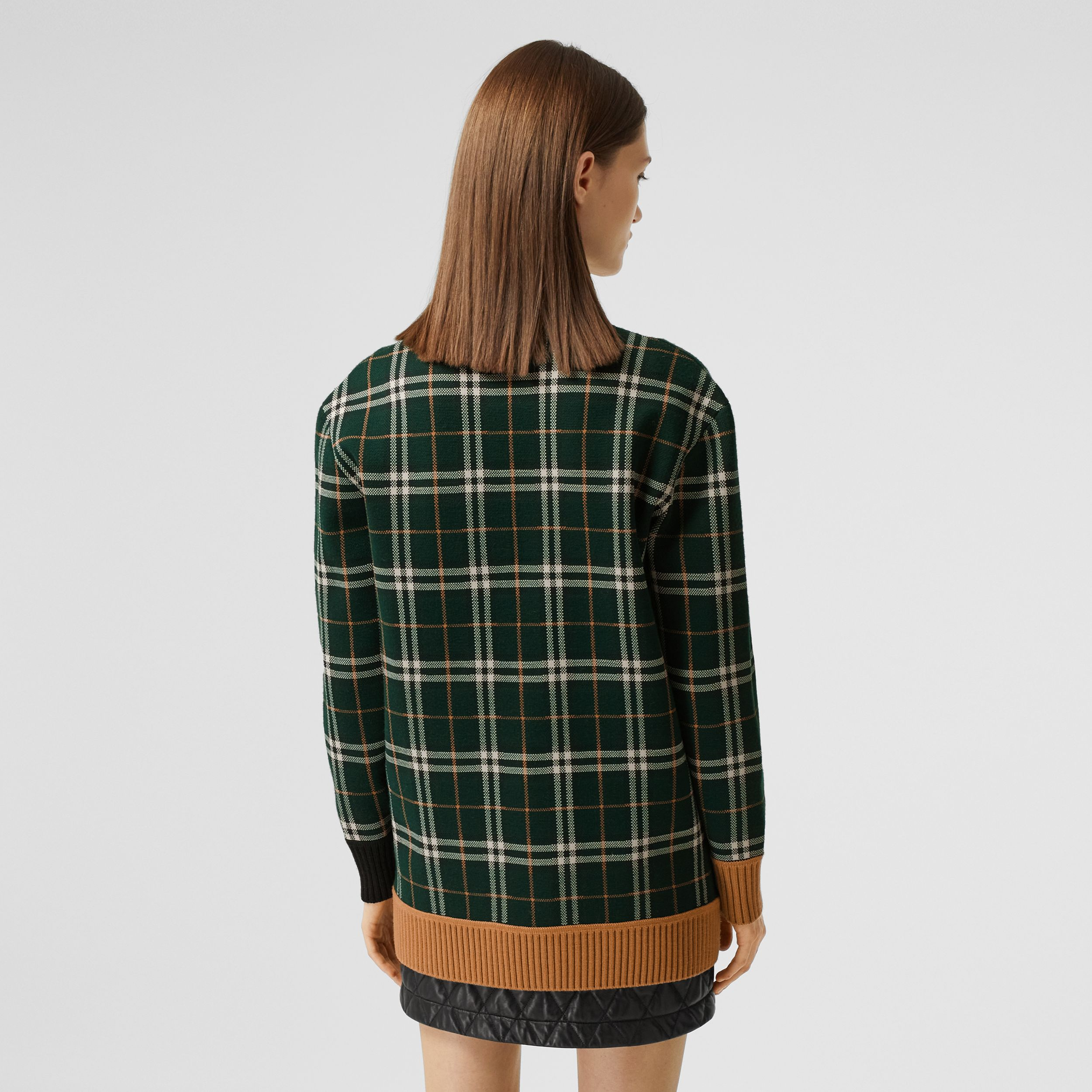 Check Technical Merino Wool Jacquard Cardigan in Bottle Green - Women | Burberry - 3