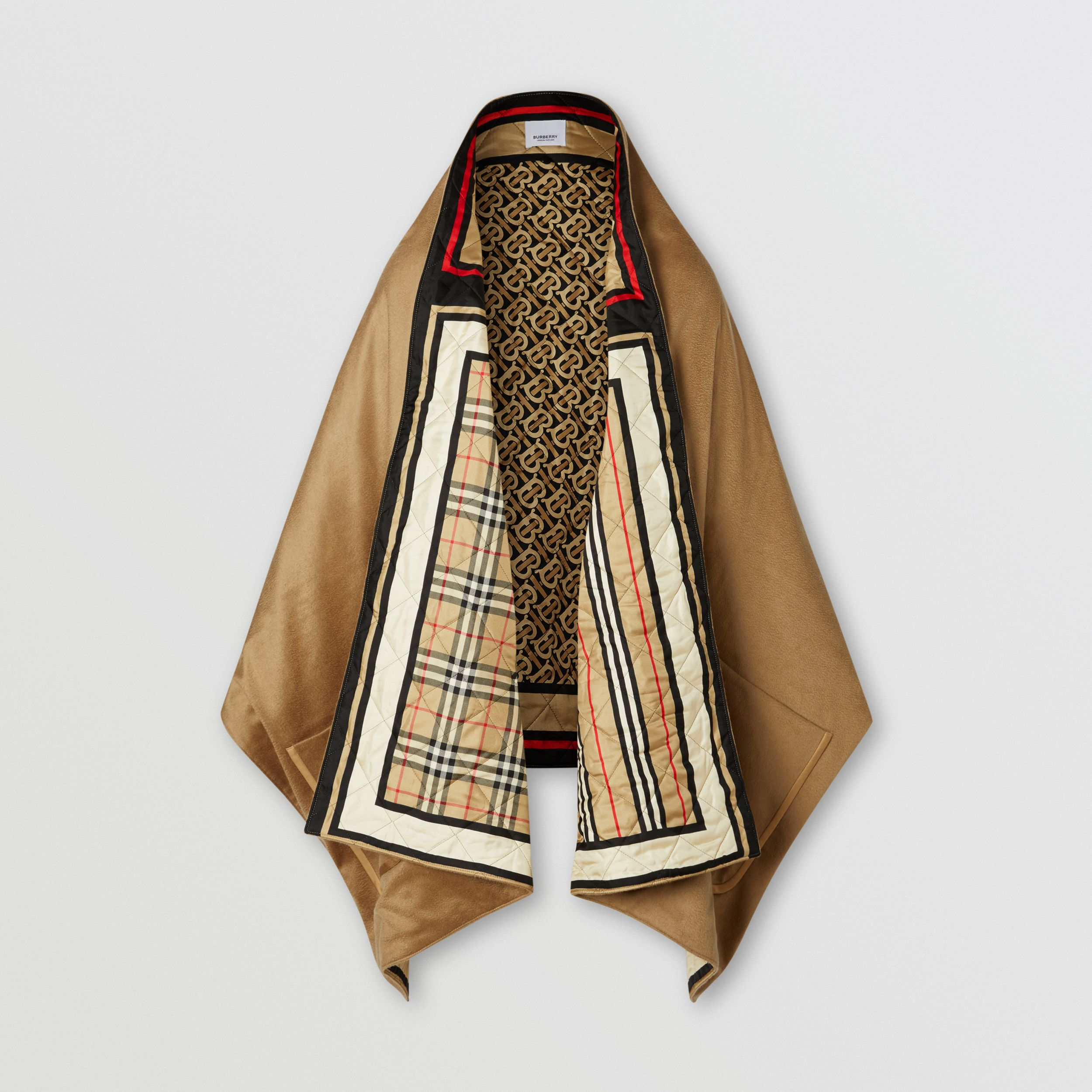 Montage Print Silk-lined Wool Cashmere Cape in Archive Beige - Women | Burberry - 3