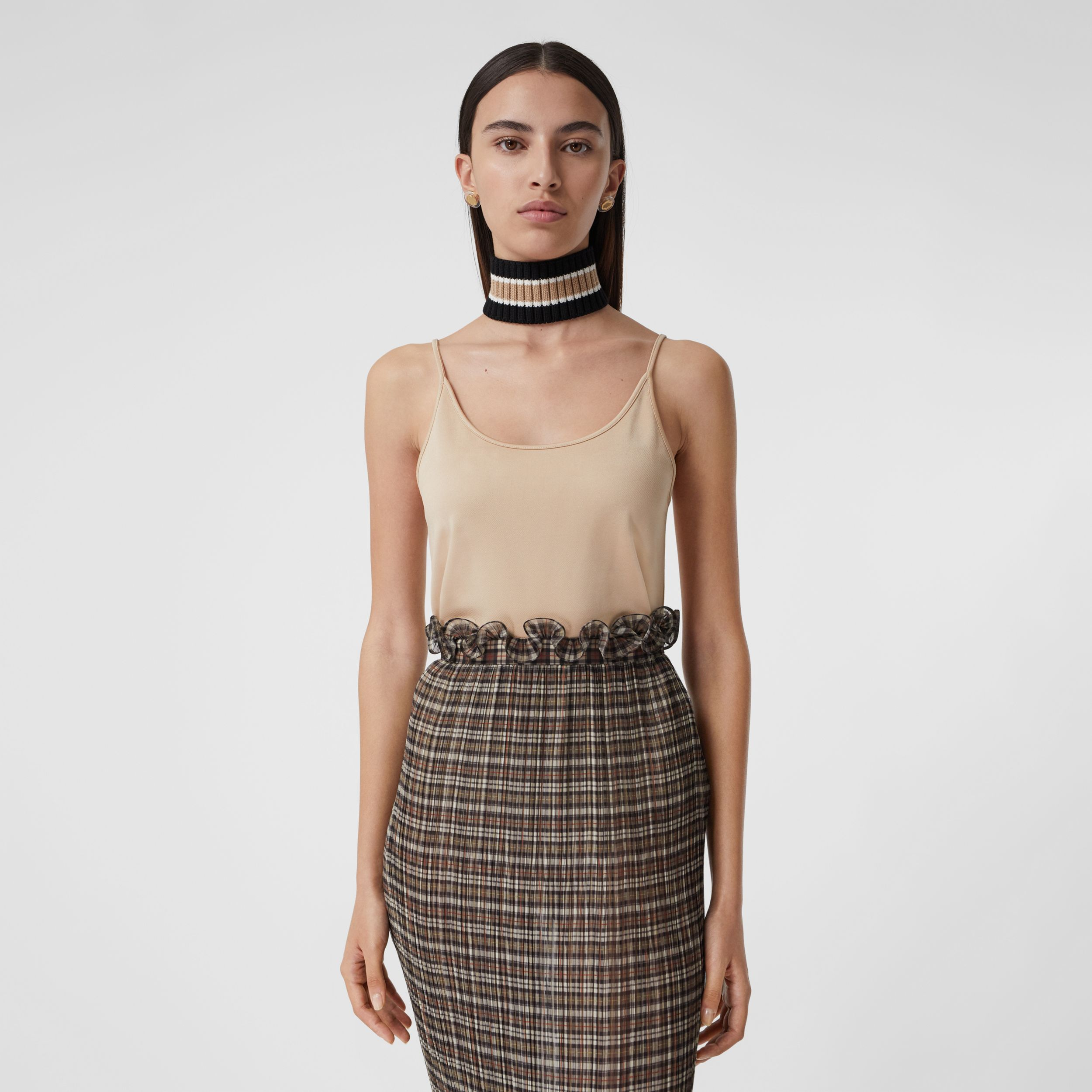 Monogram Motif Stretch Jersey Camisole in Soft Fawn - Women | Burberry Hong Kong S.A.R. - 4