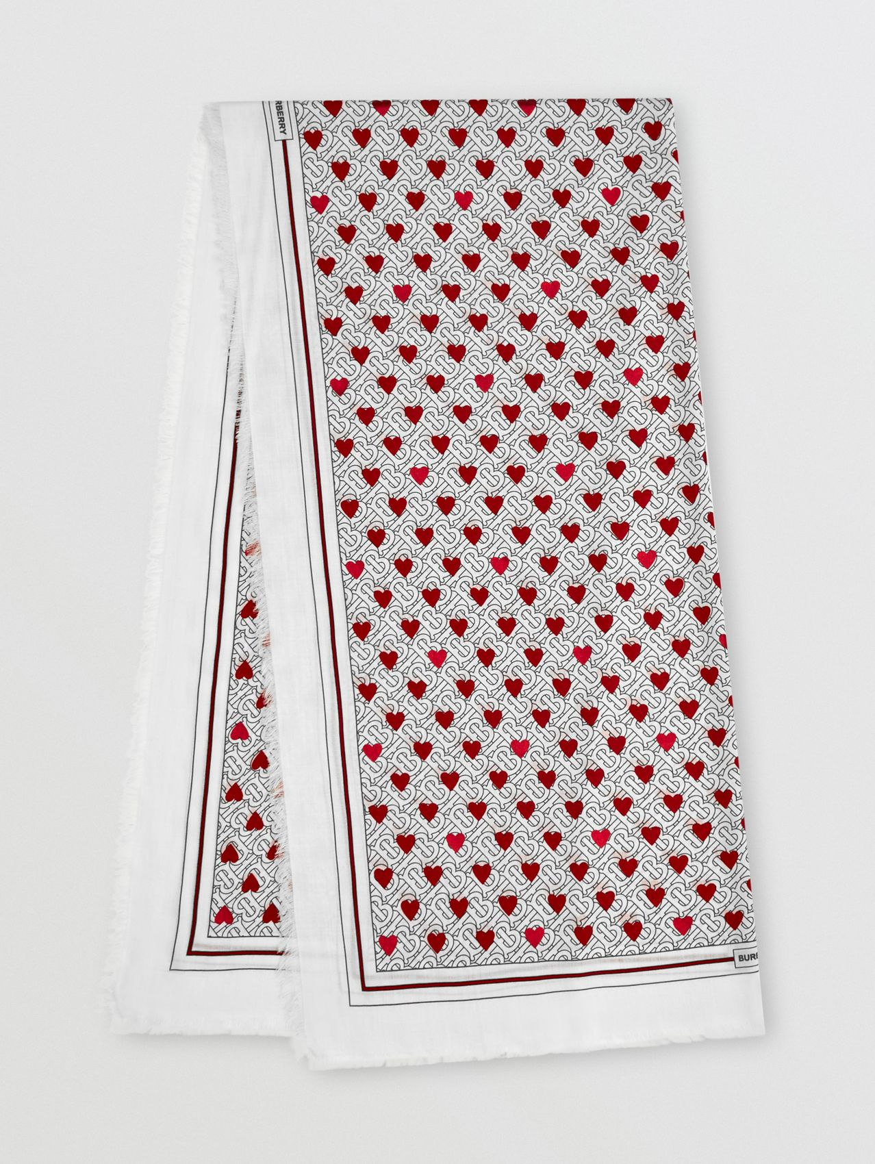 Monogram and Heart Print Cashmere Scarf in Black/white