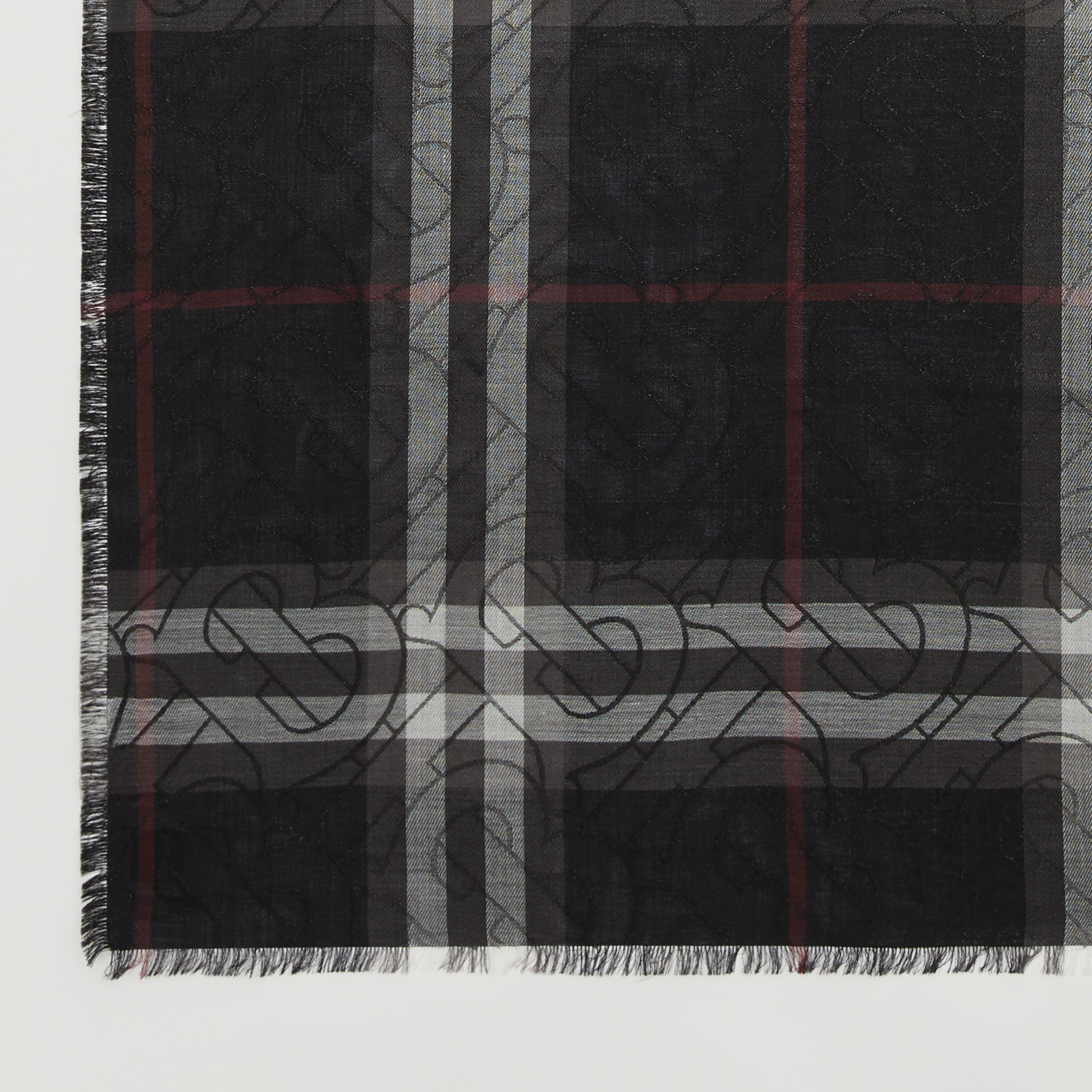 Metallic Monogram Lightweight Check Silk Blend Scarf in Black | Burberry - 2