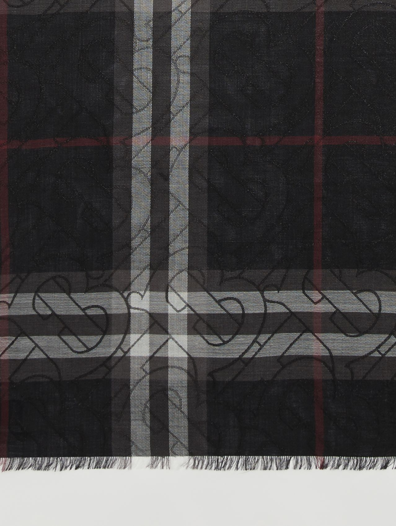 Metallic Monogram Lightweight Check Silk Blend Scarf in Black
