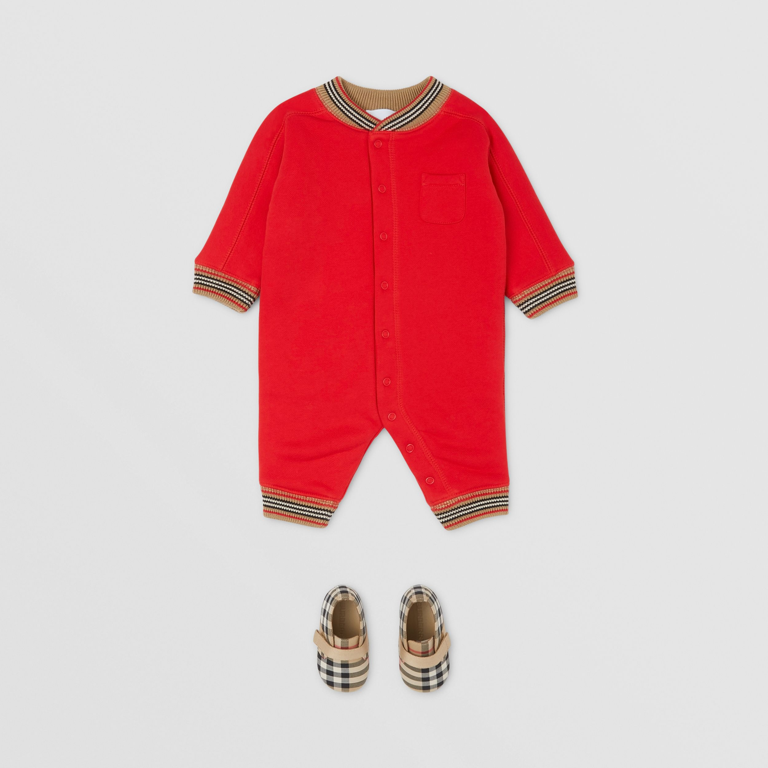 Icon Stripe Trim Cotton Jumpsuit - Children | Burberry - 3