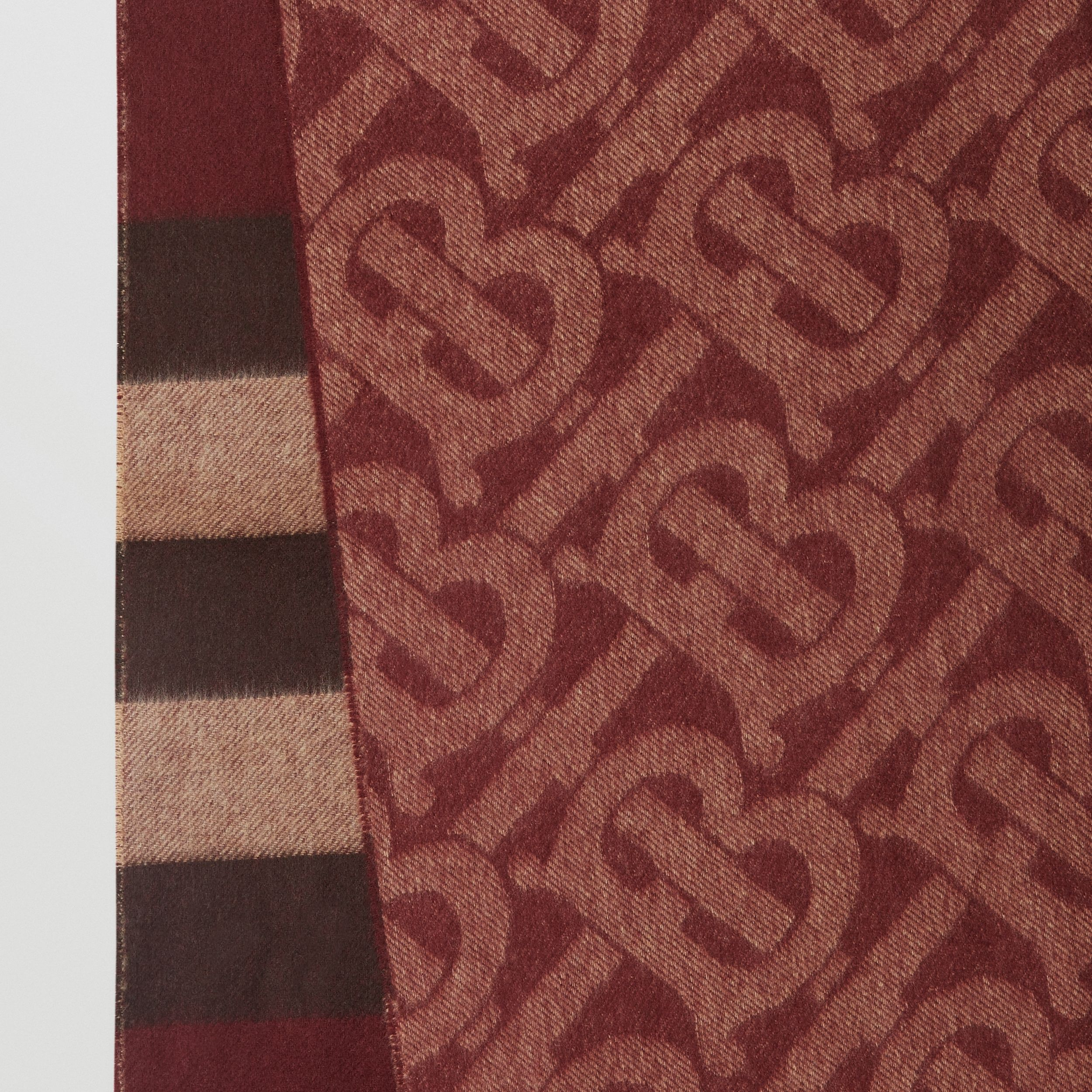 Reversible Check and Monogram Cashmere Scarf in Burgundy | Burberry Singapore - 2